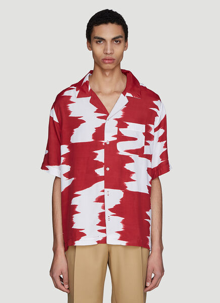 Missoni Wide Zig-Zag Short Sleeve Shirt in Red