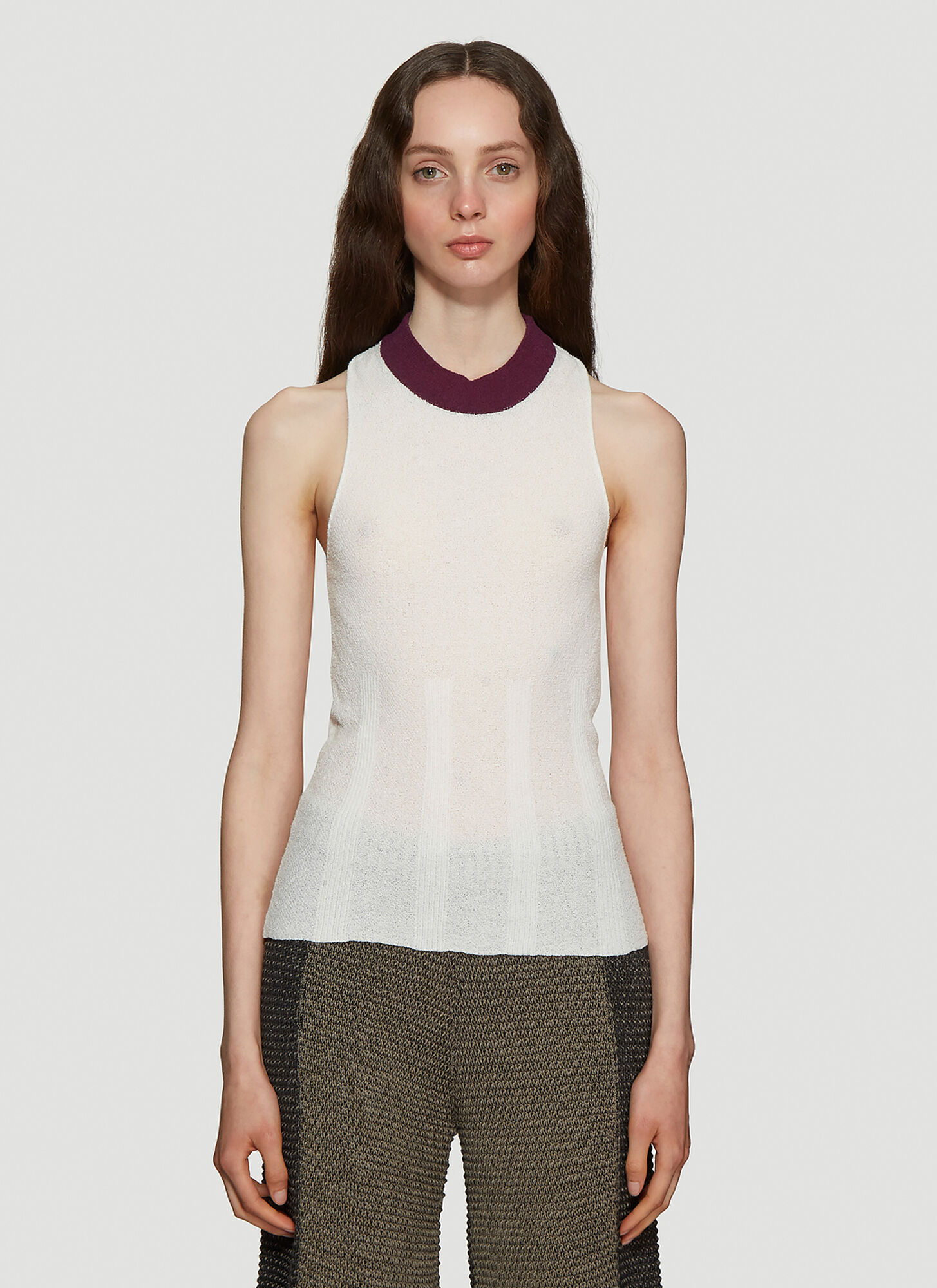 Eckhaus Latta Open Back Knitted Tank Top in White
