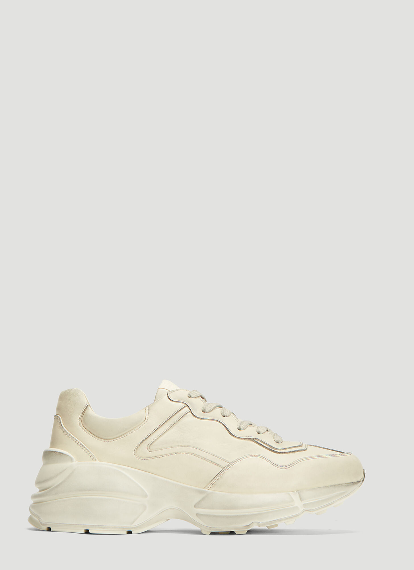 Gucci Rhyton Gucci Logo Leather Sneakers in White