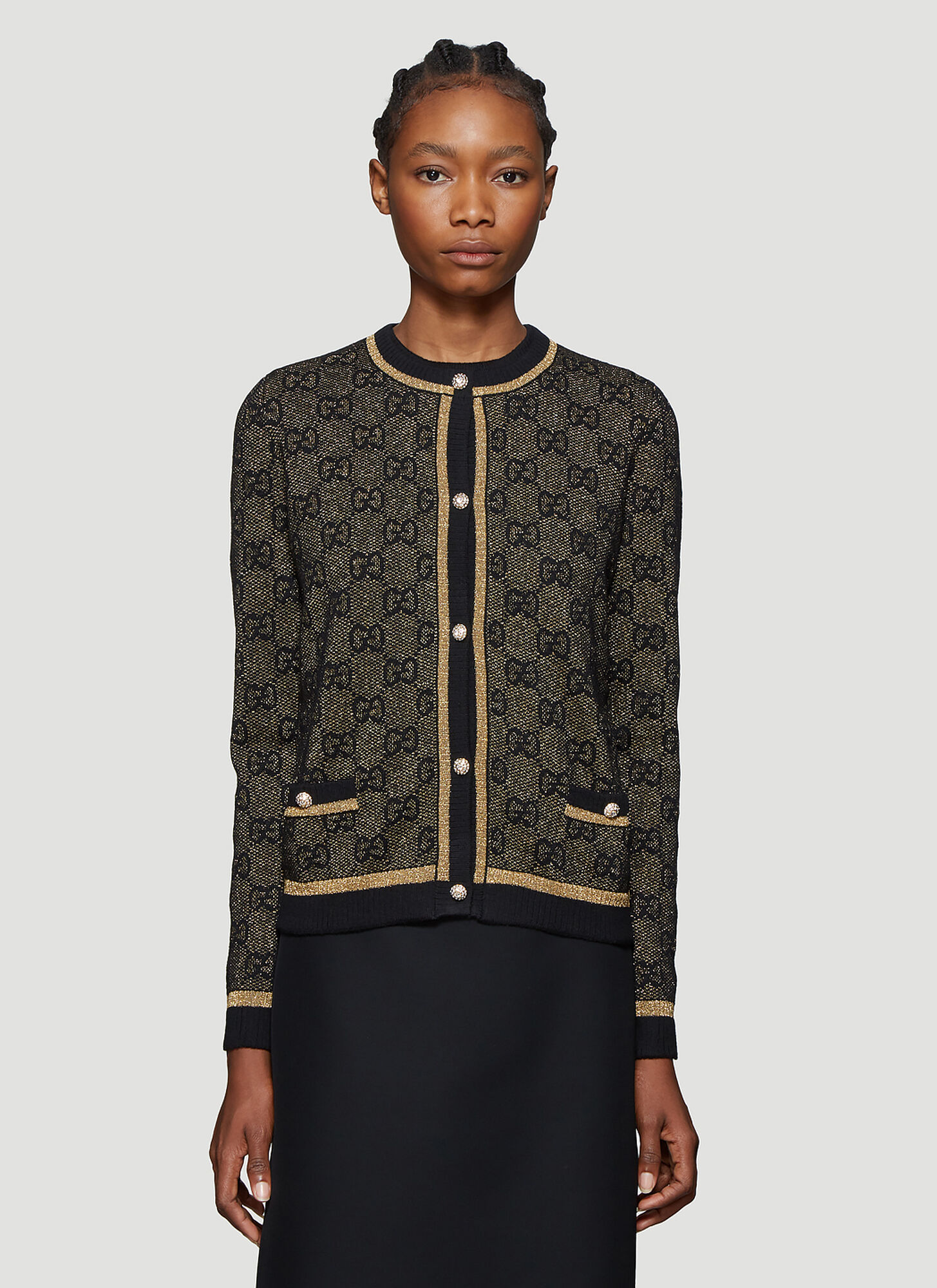 Gucci GG Logo Metallic-Knit Cardigan in Brown