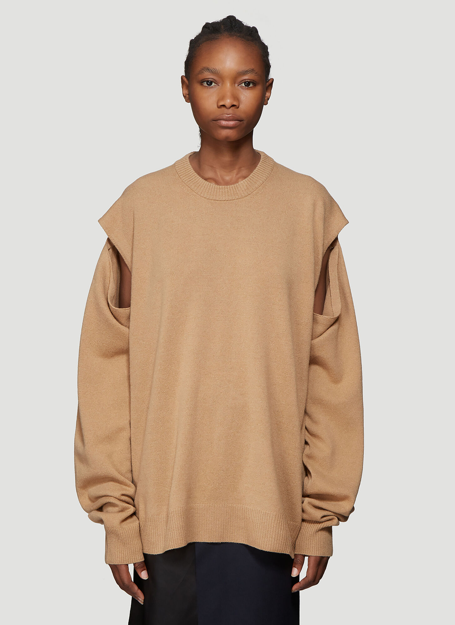 Maison Margiela Wool and Cashmere Blend Sweater in Brown