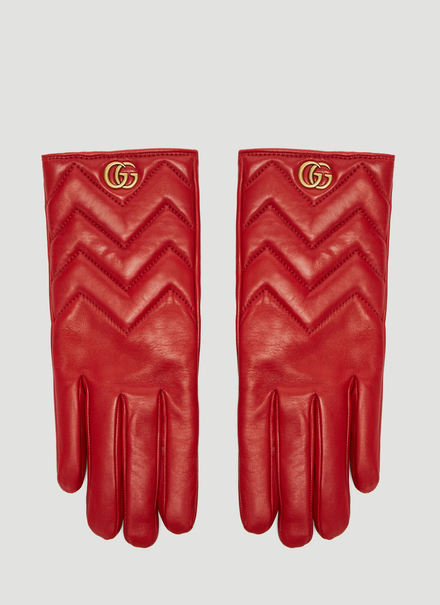 Gucci Marmont Chevron Leather Gloves in Red