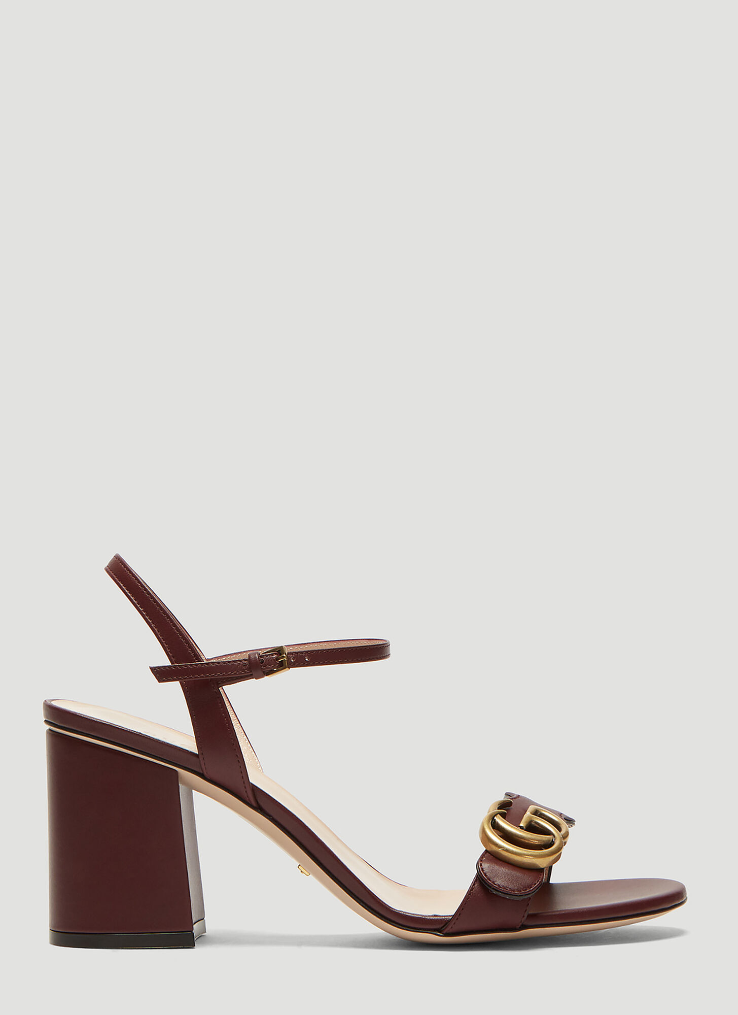 Gucci Double G Leather Mid-Heel sandal in Burgundy