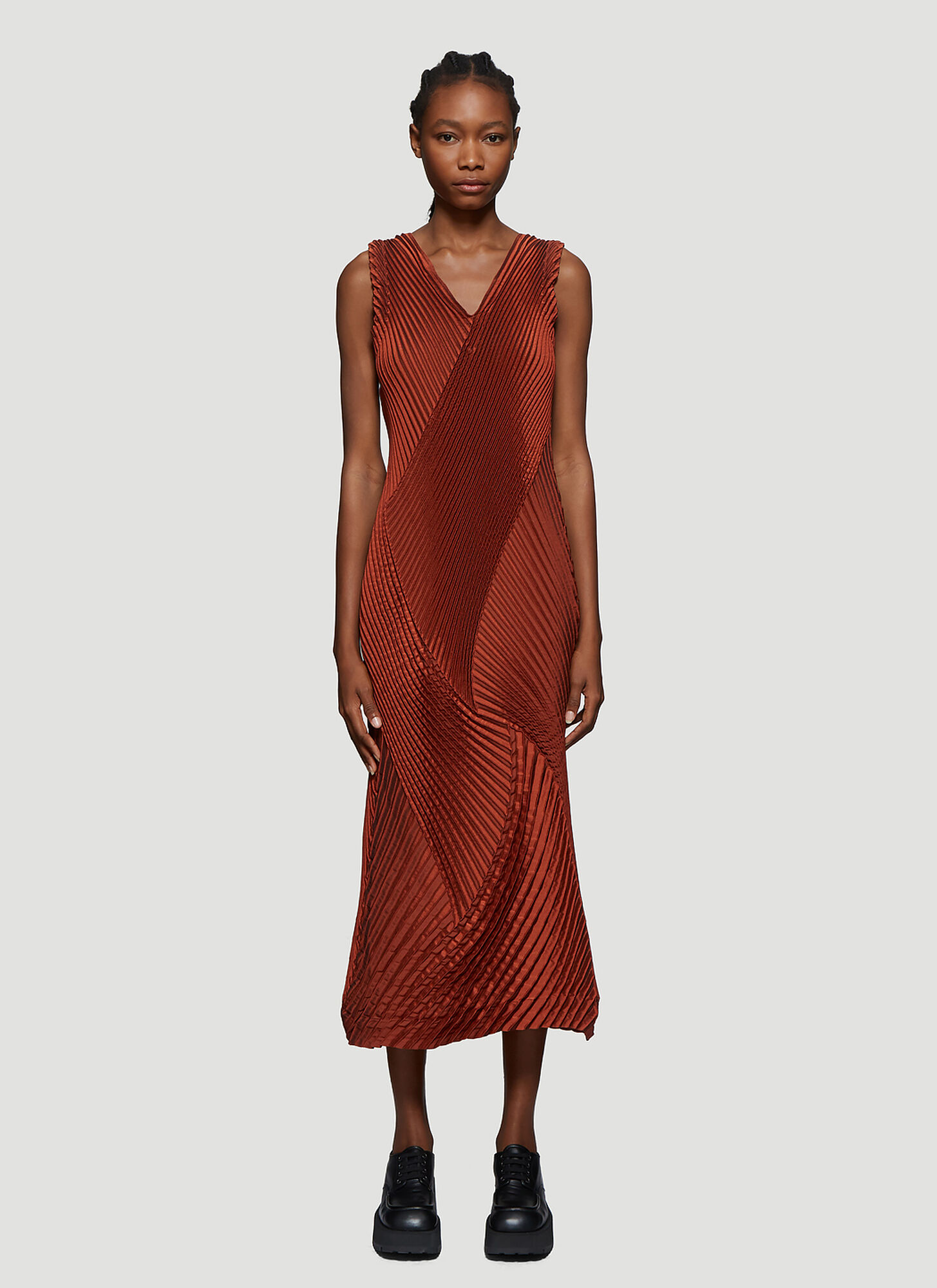 Issey Miyake Pleated V-Neck Dress in Orange