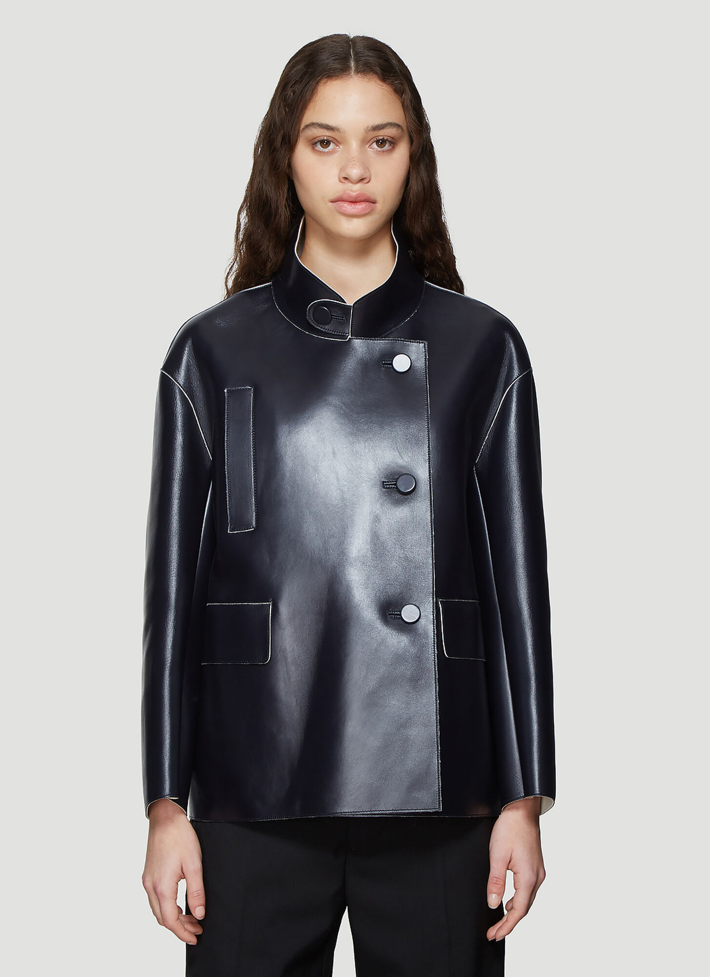 Marni Leather Jacket in Navy