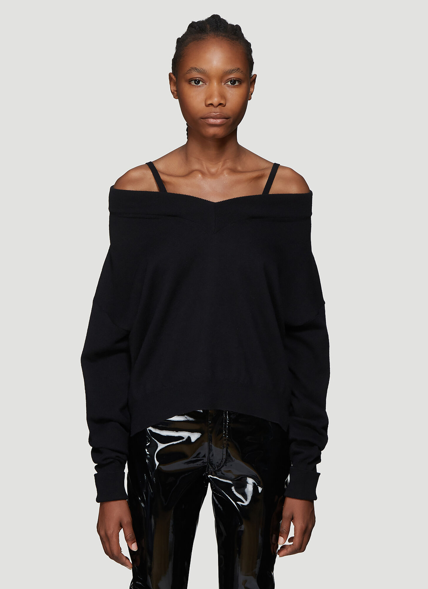 Maison Margiela Fine Knit V-Neck Sweater in Black