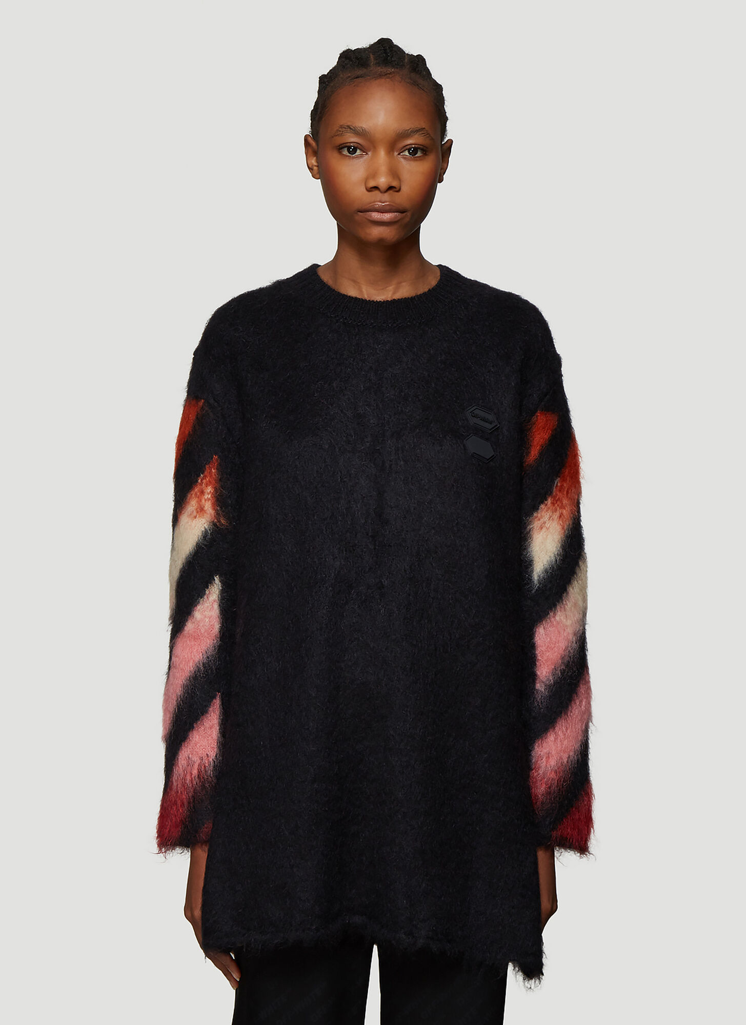 Off-White Diagonal Intarsia-Knit Sweater in Black