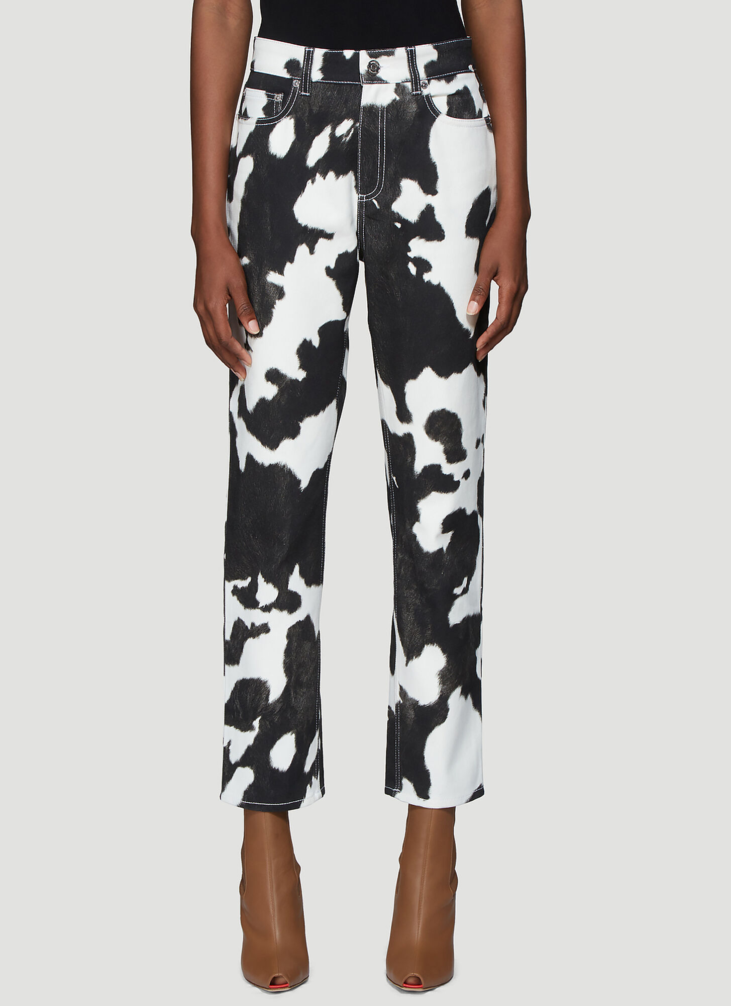 Burberry Cow Print Straight Leg Jeans in Black