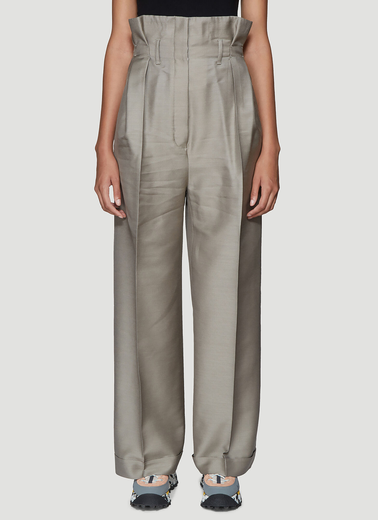 Acne Studios Perrie High-Waisted Twill Pants in Beige