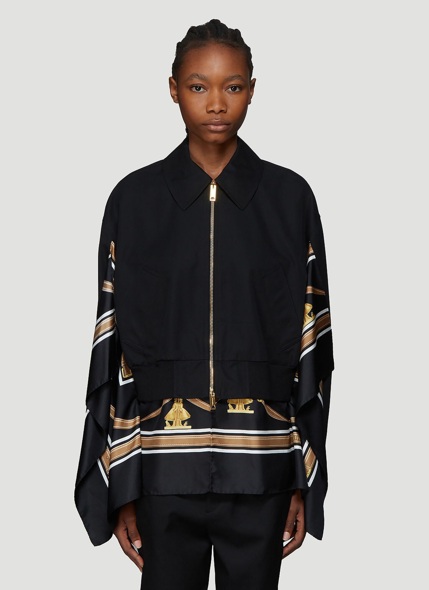Burberry Scarf Detail Bomber Jacket in Black