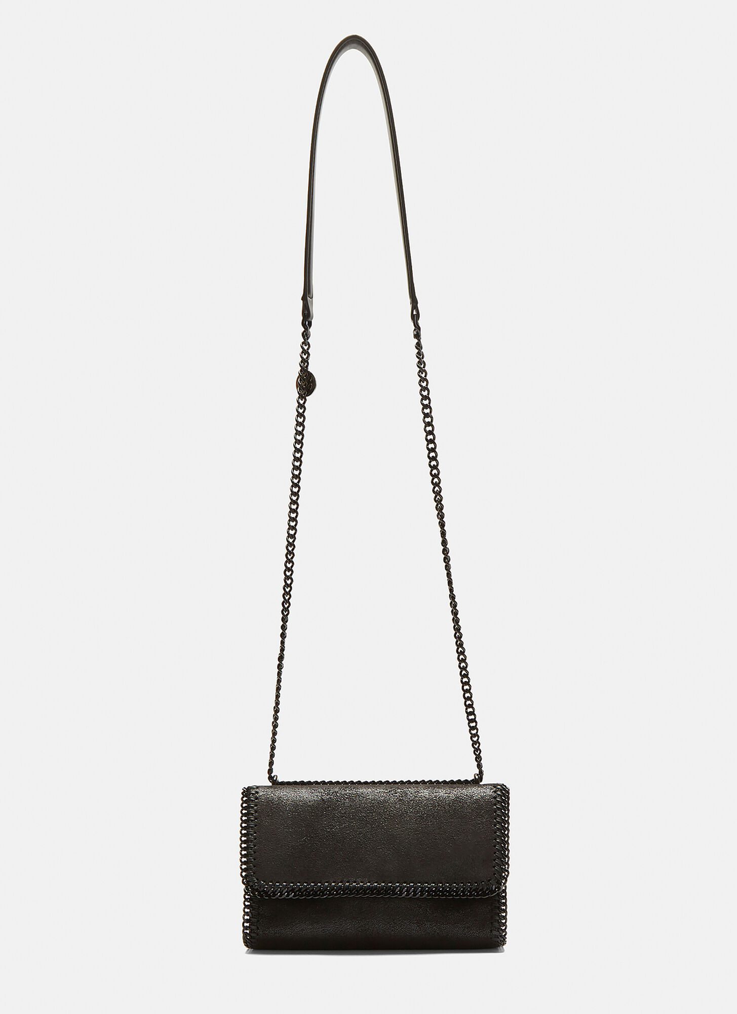 Stella McCartney Shaggy Deer Falabella Chain Shoulder Bag in Black