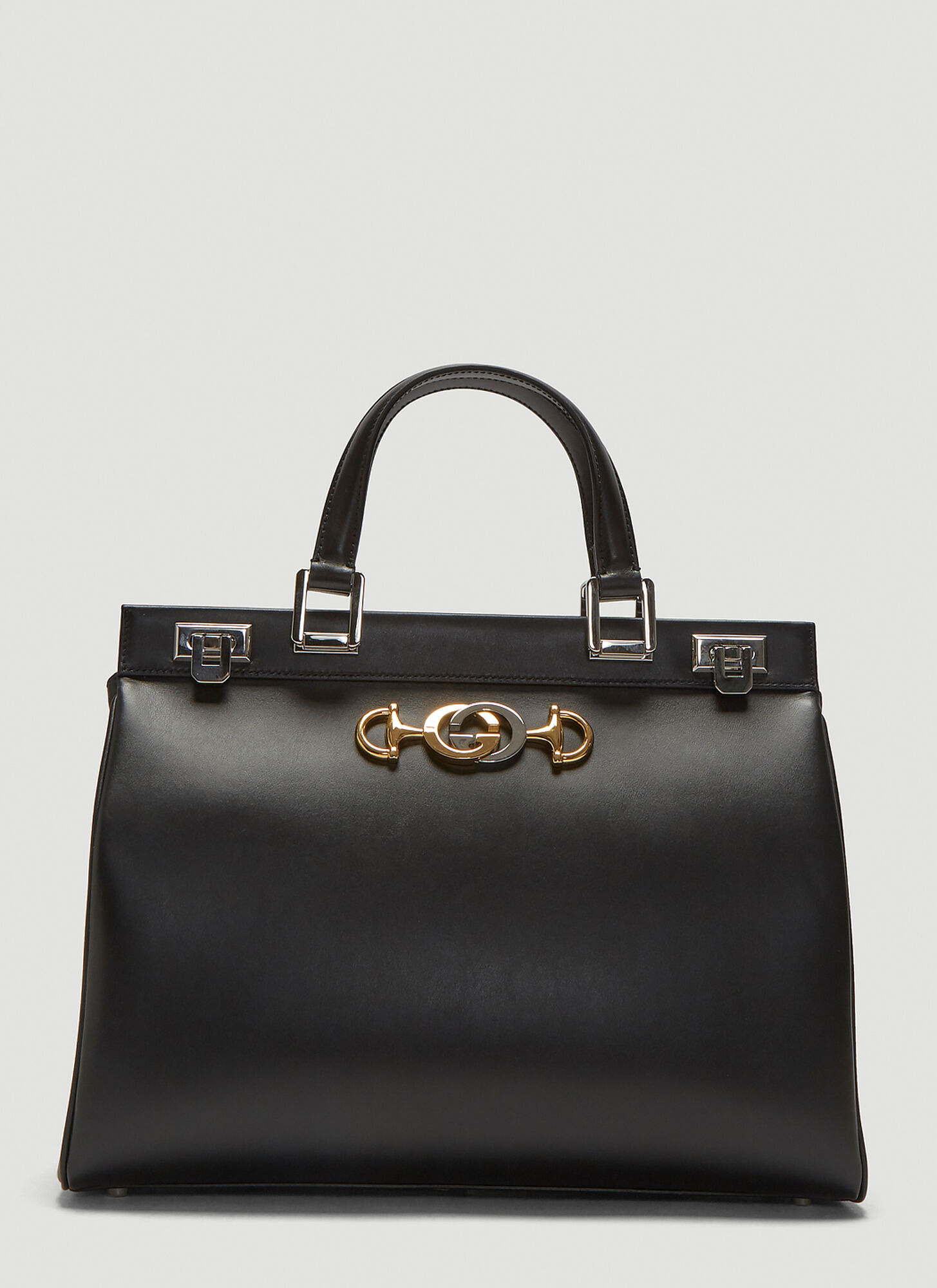 Gucci Zumi Top Handle Leather Bag in Black
