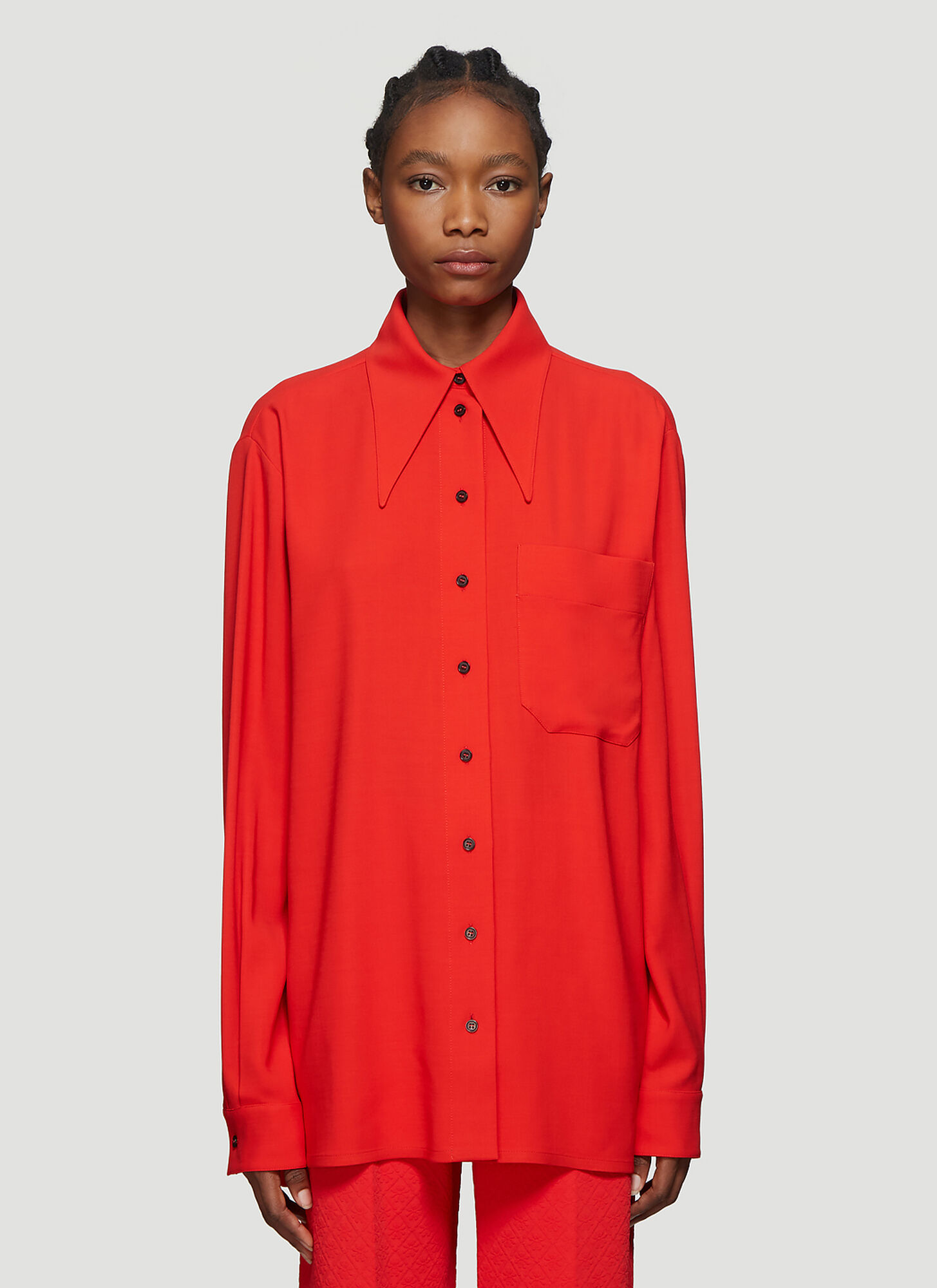 Kwaidan Editions Exaggerated Collar Wool-Blend Shirt in Red