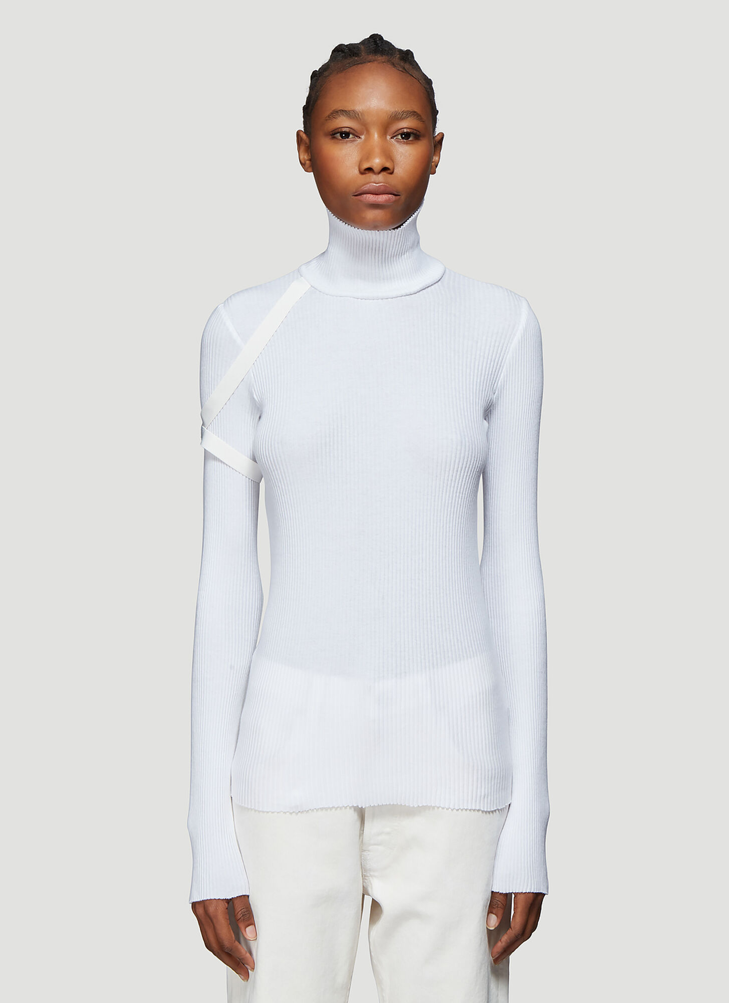 Helmut Lang Turtleneck Ribbed Sweater in White