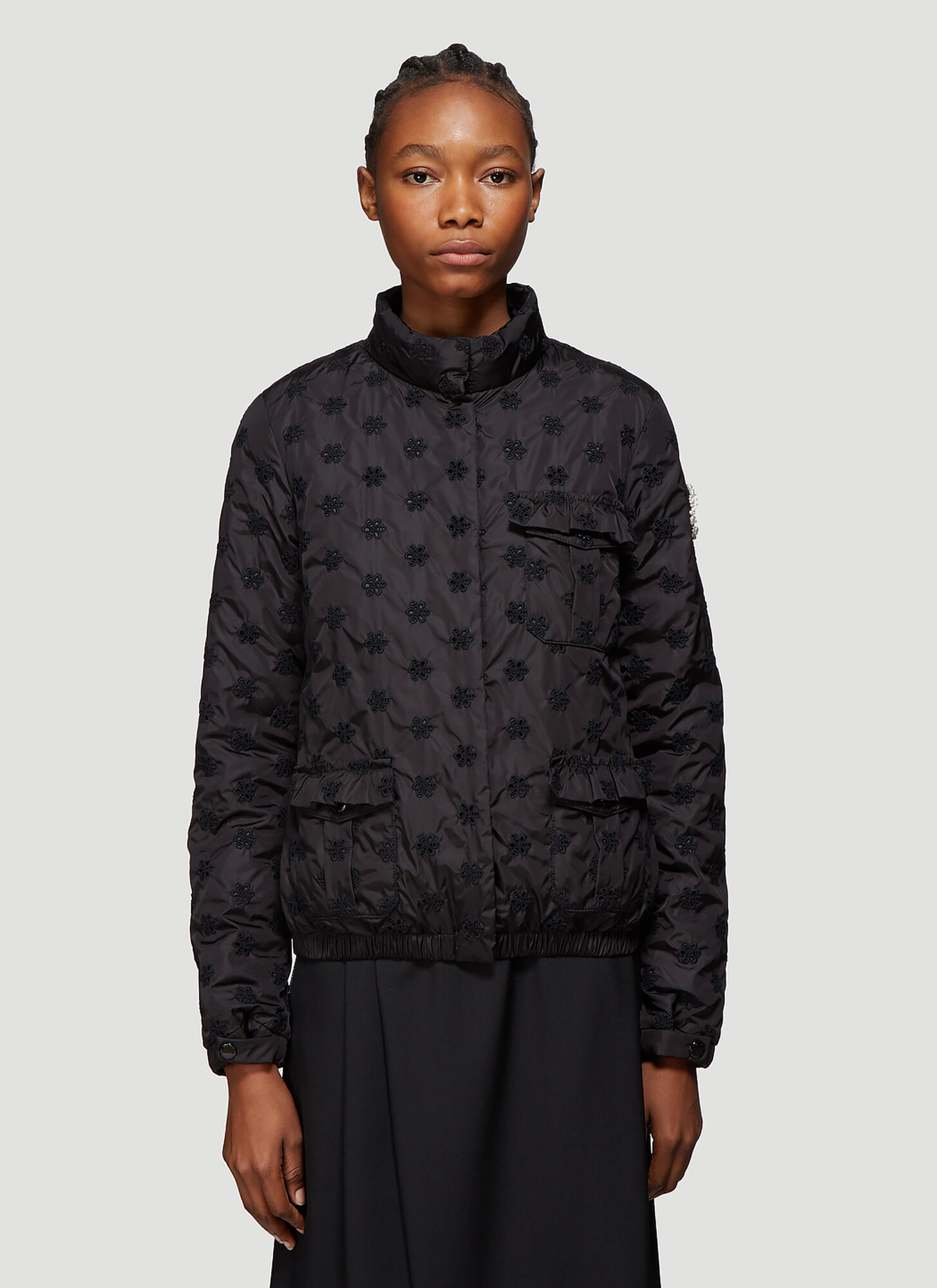 4 Moncler Simone Rocha Hilary Broderie Anglaise Jacket in Black