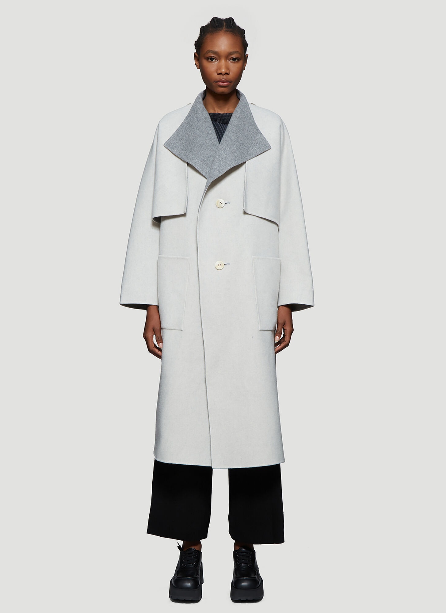 Issey Miyake Reversible Wool and Cashmere Blend Coat in Grey