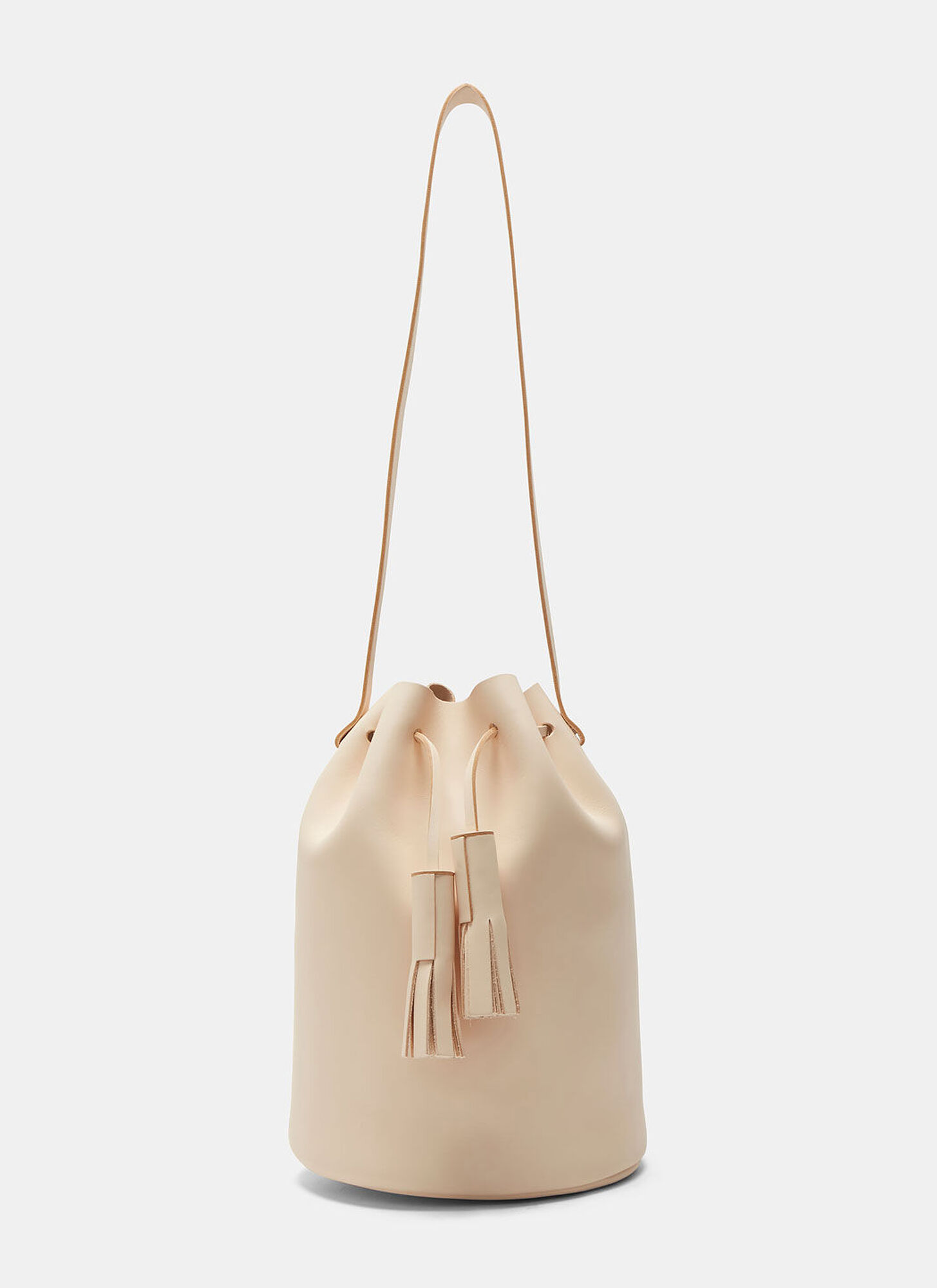 Building Block Leather Bucket Bag in Nude