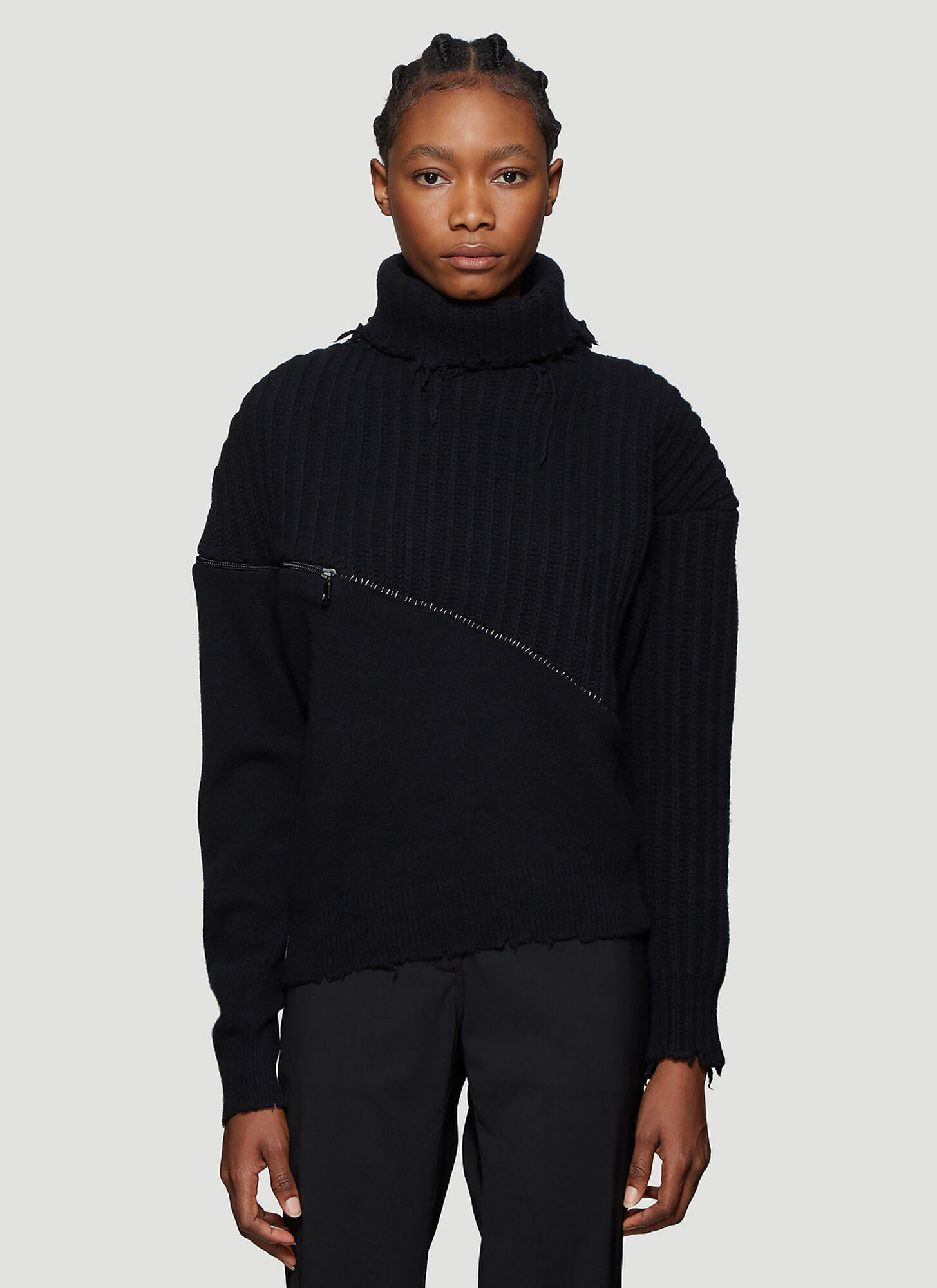 Unravel Project Raw Hem Turtleneck Sweater in Black