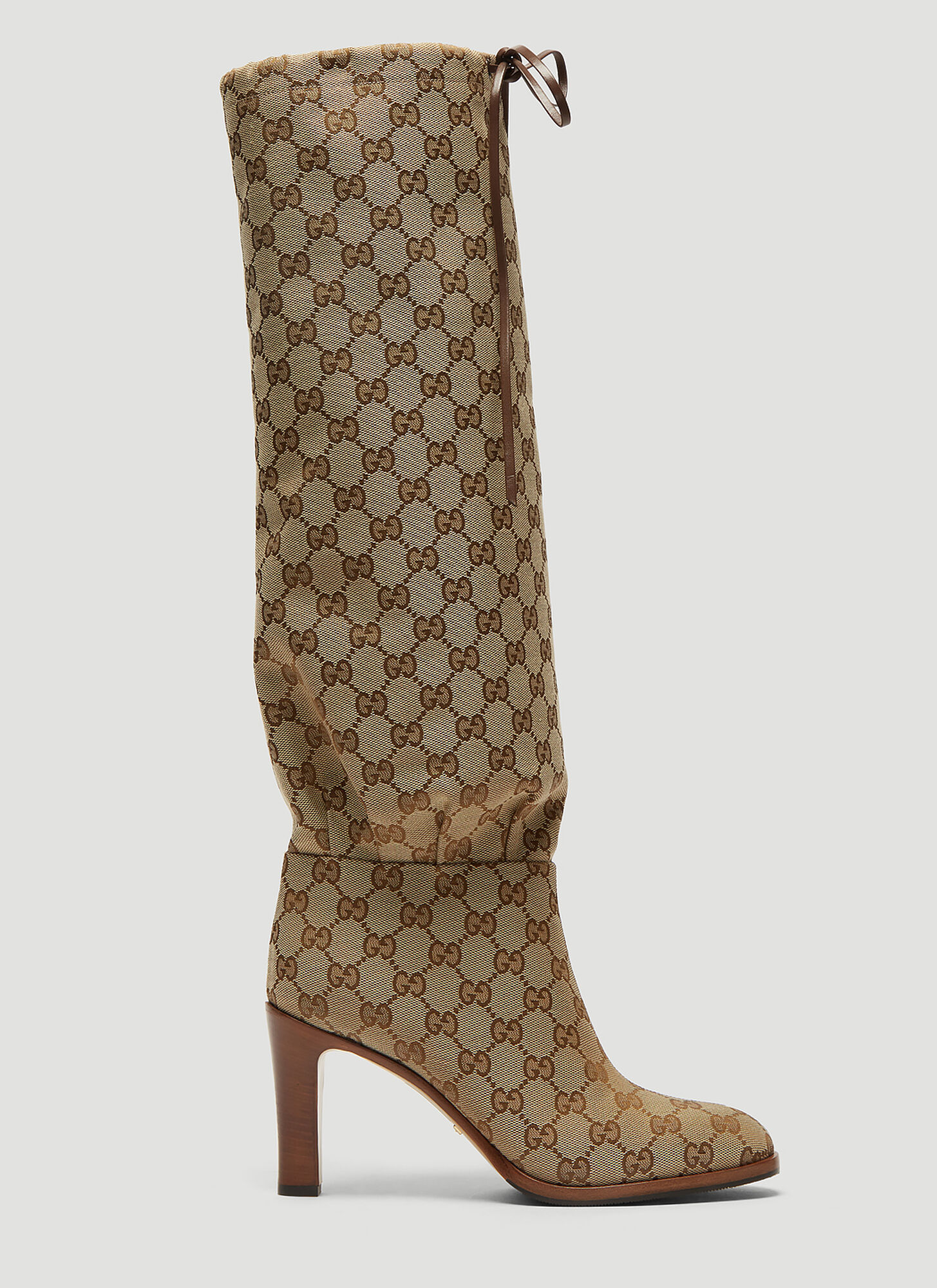 Gucci Lisa Mid Knee GG Supreme Boots in Beige