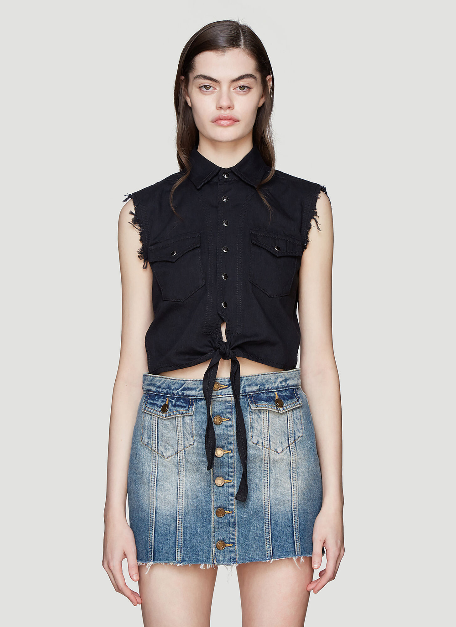 Photo of Saint Laurent Sleeveless Western Denim Shirt in Black - Saint Laurent Tops
