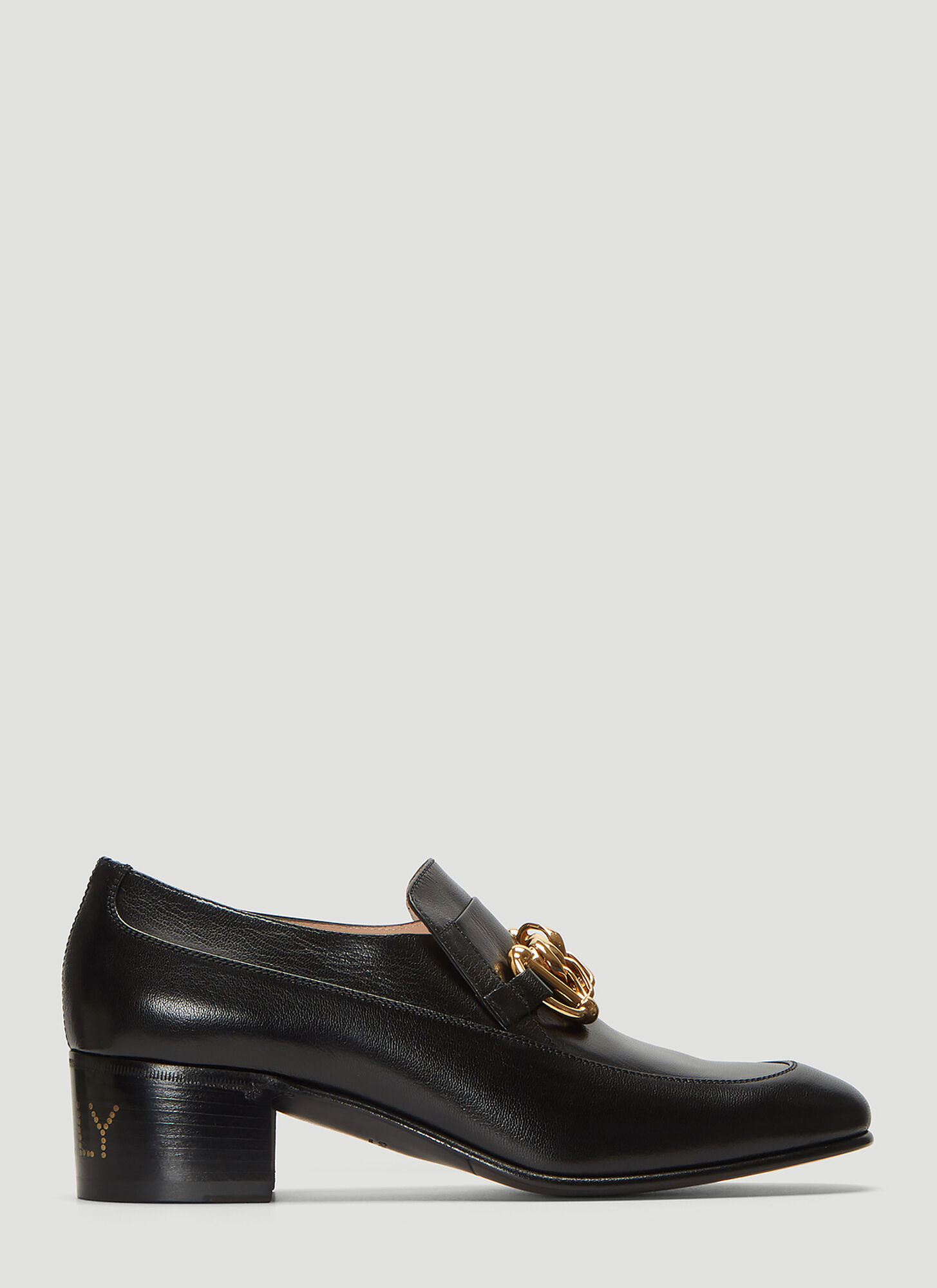Gucci Ice Lolly Leather Chain Loafers in Black