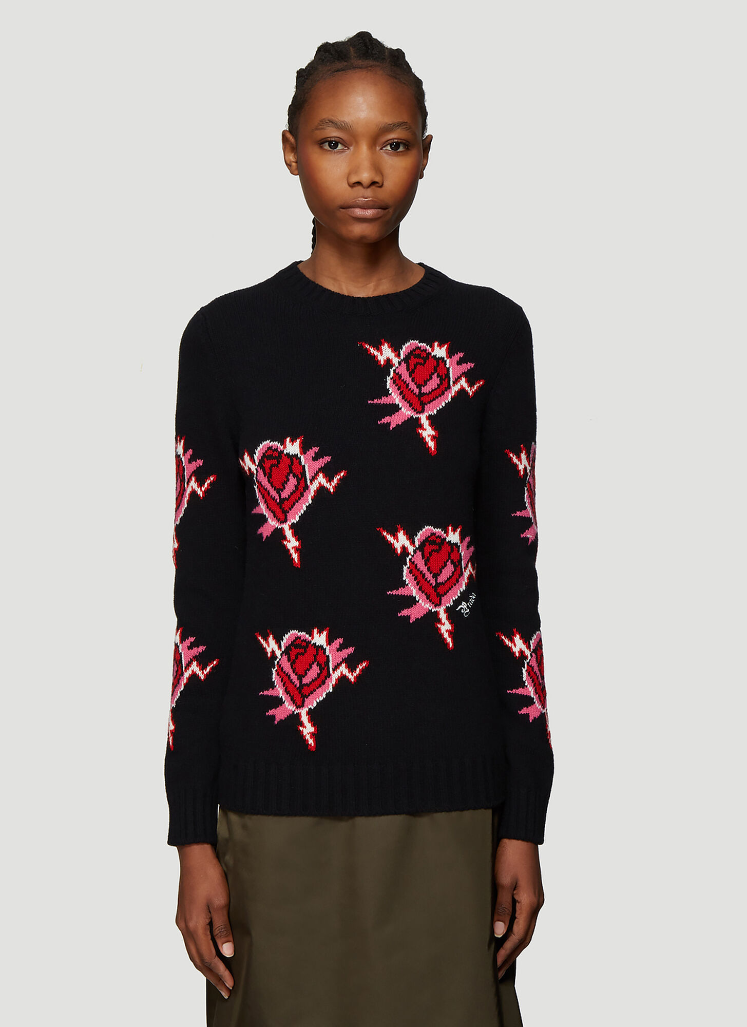 Prada Rose Motif Sweater in Black
