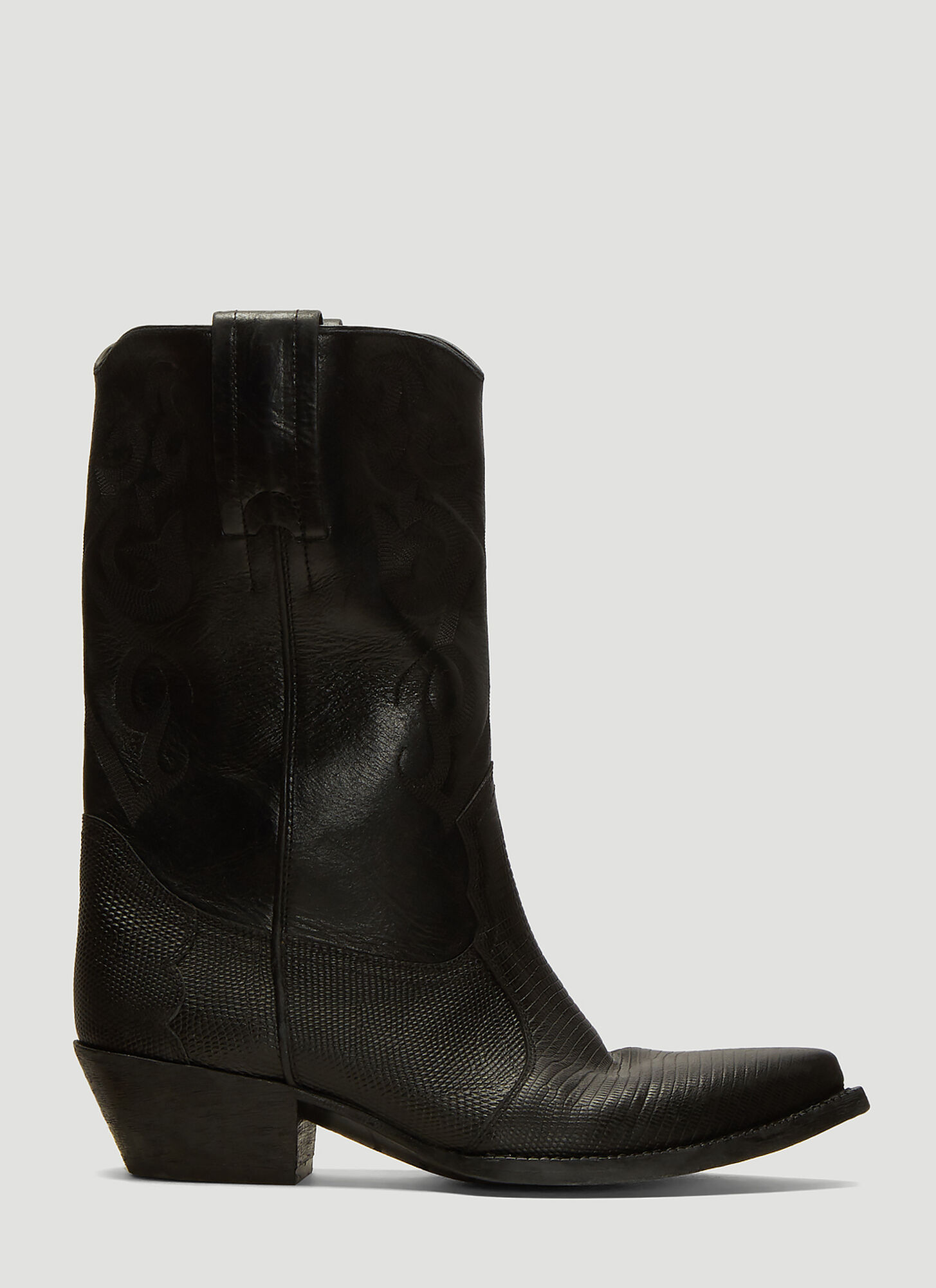 Saint Laurent Cowboy Boots in Black