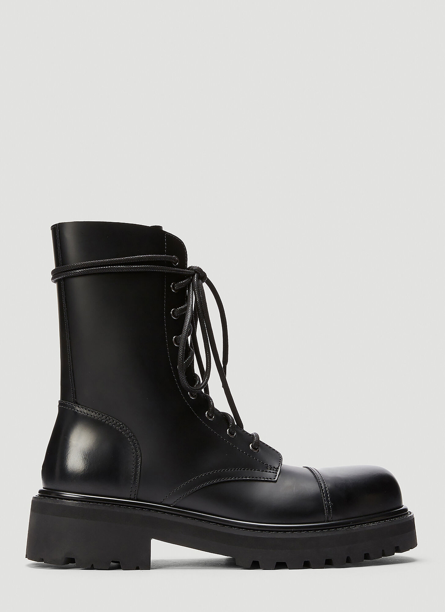 Vetements Lace-Up Leather Military Boots
