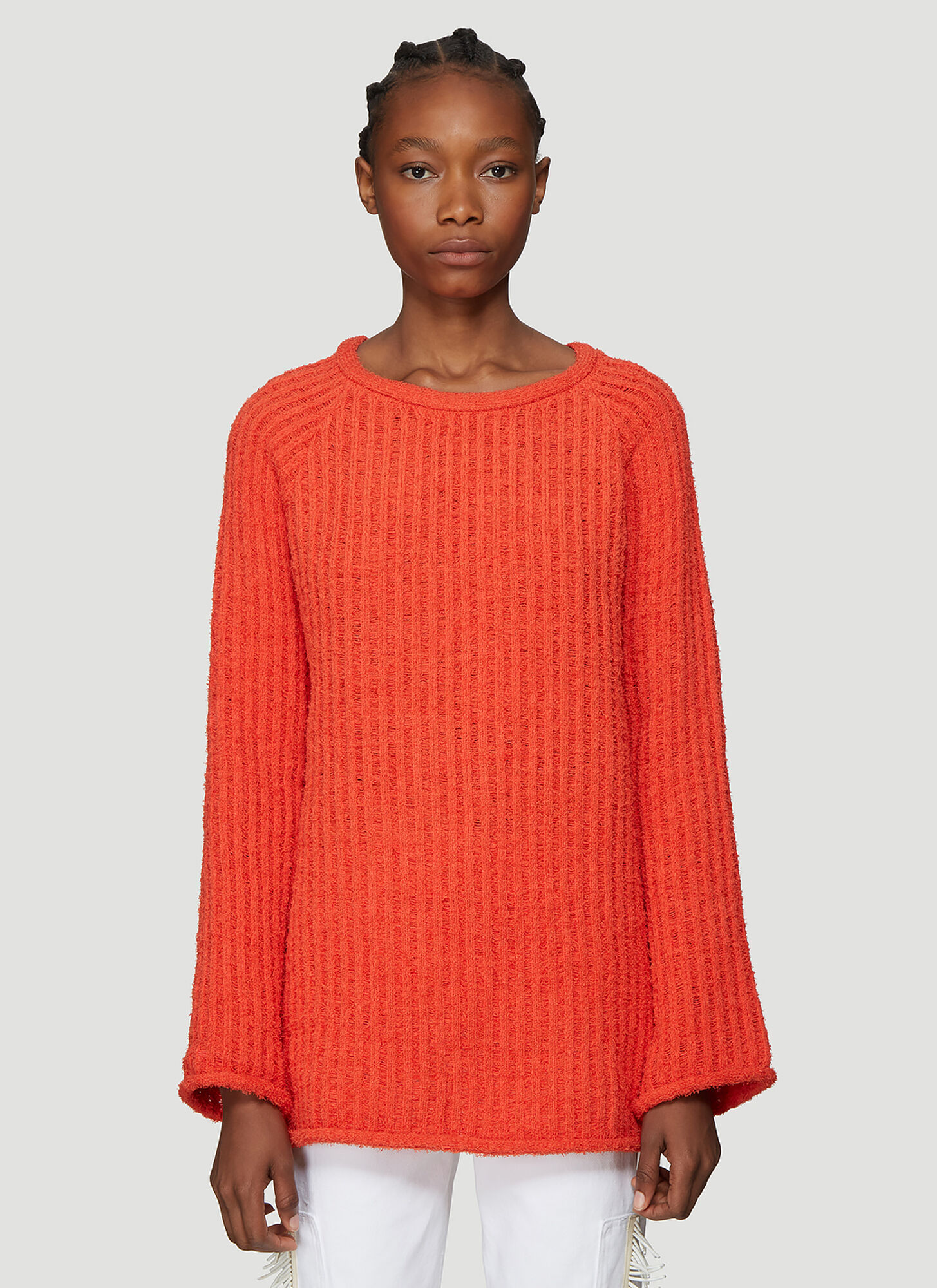 Photo of Eckhaus Latta Referee Knit Sweater in Orange - Eckhaus Latta Knitwear