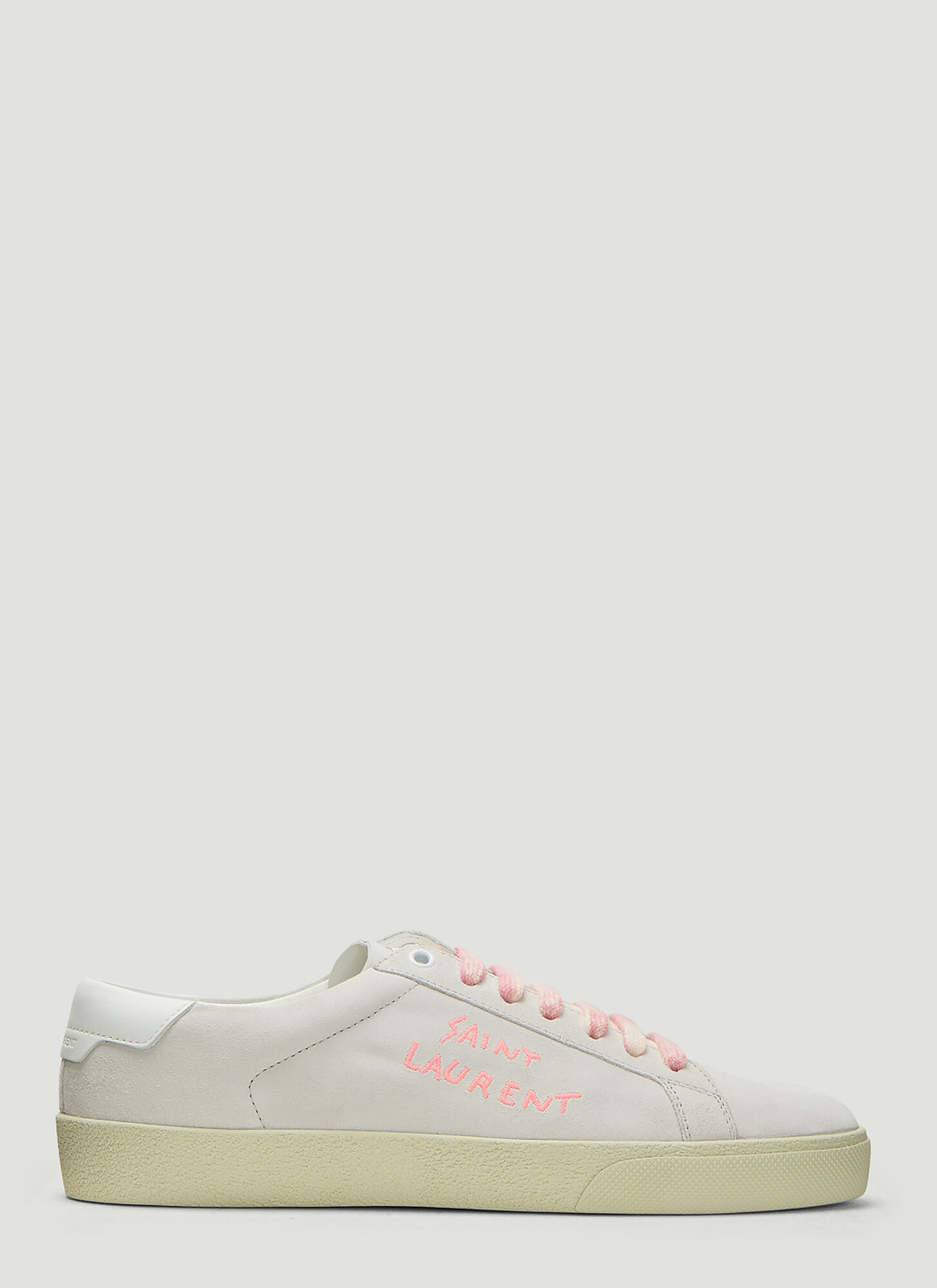 Saint Laurent Court Classic SL/06 Embroidered Sneakers in White