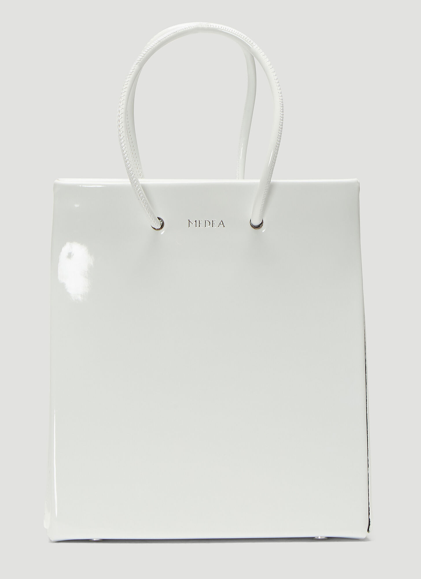 Photo of Medea Short Vinile Shopper Bag in White - Medea Handbags