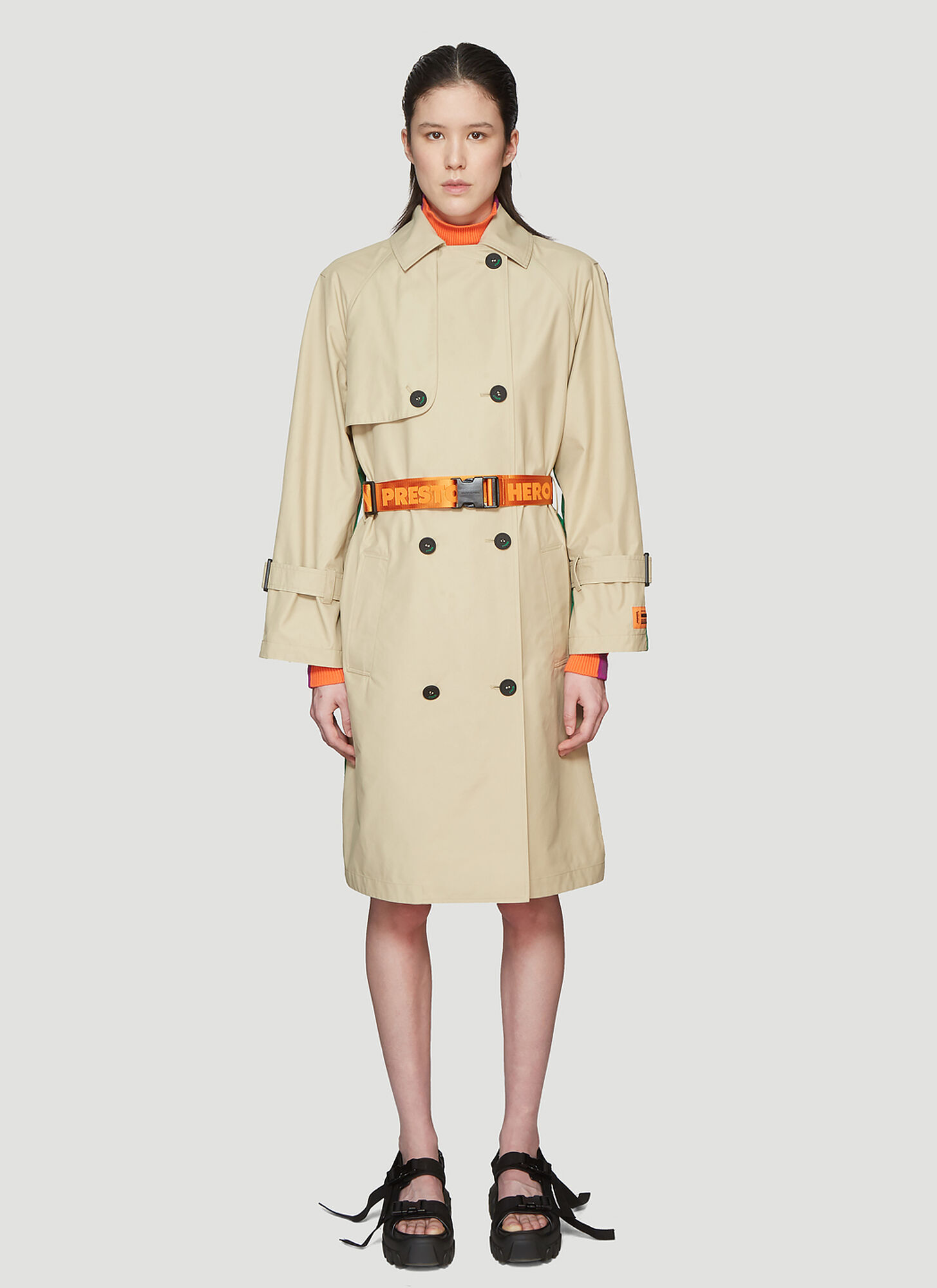 Heron Preston Patchwork Trench Coat in Beige