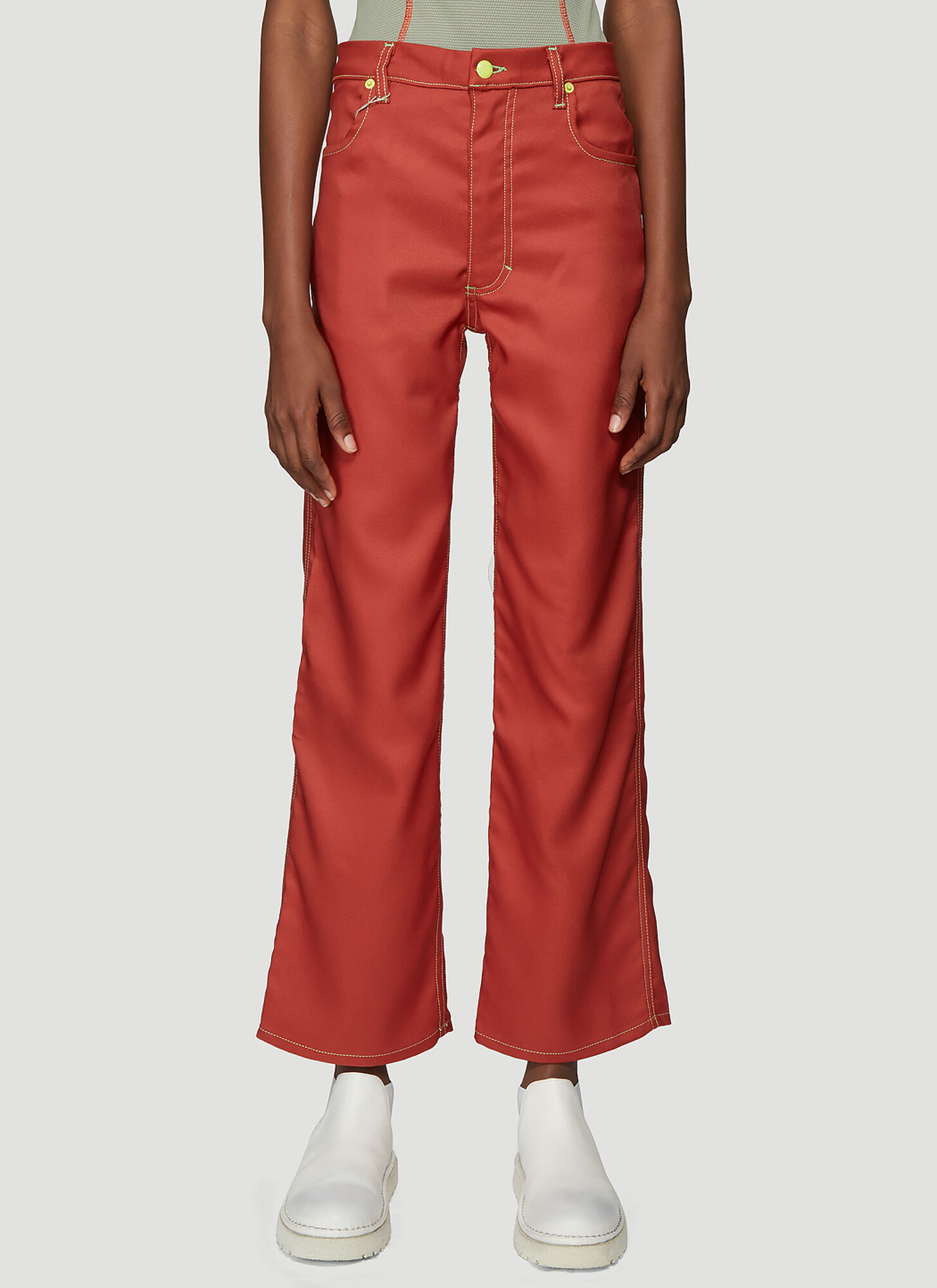 Eckhaus Latta Wide Leg Jeans in Red