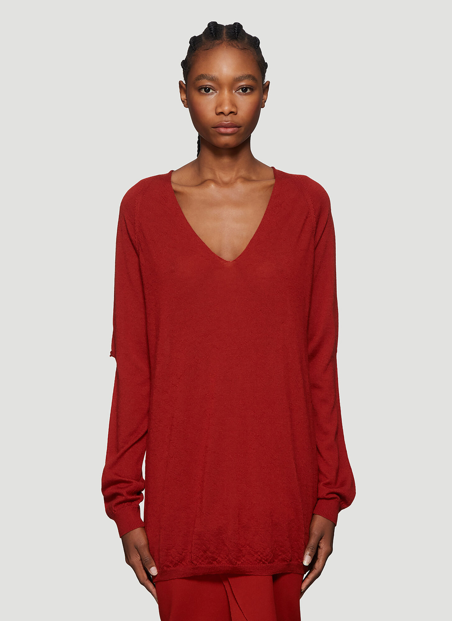 Rick Owens Zionic V-Neck Sweater in Red