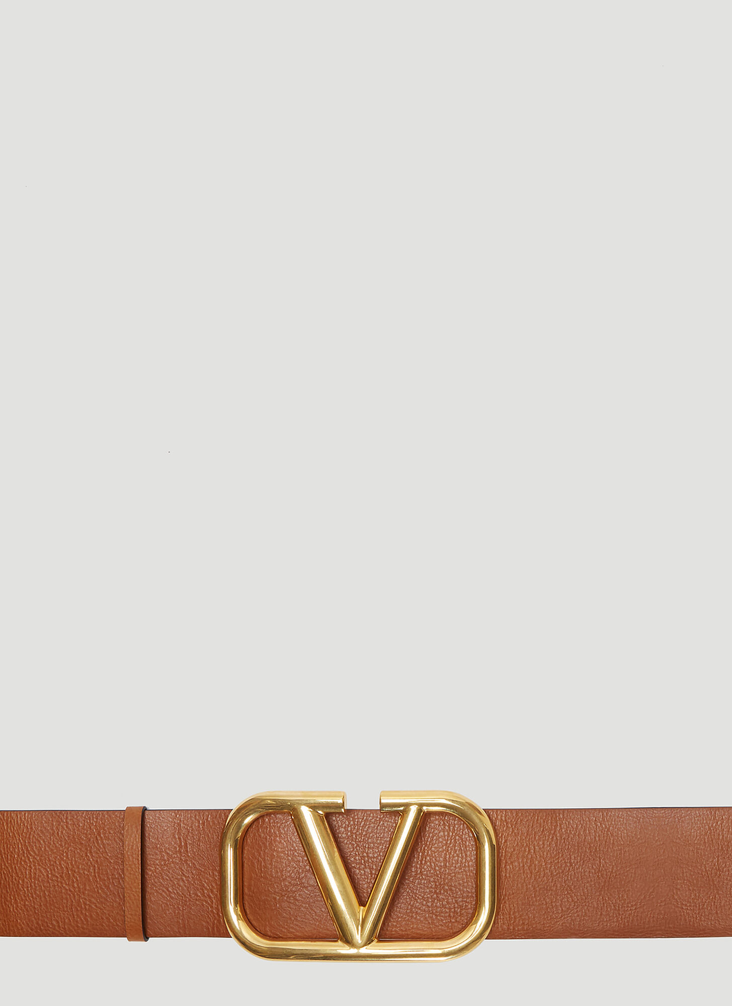 Valentino Big V Logo Leather Belt in Brown