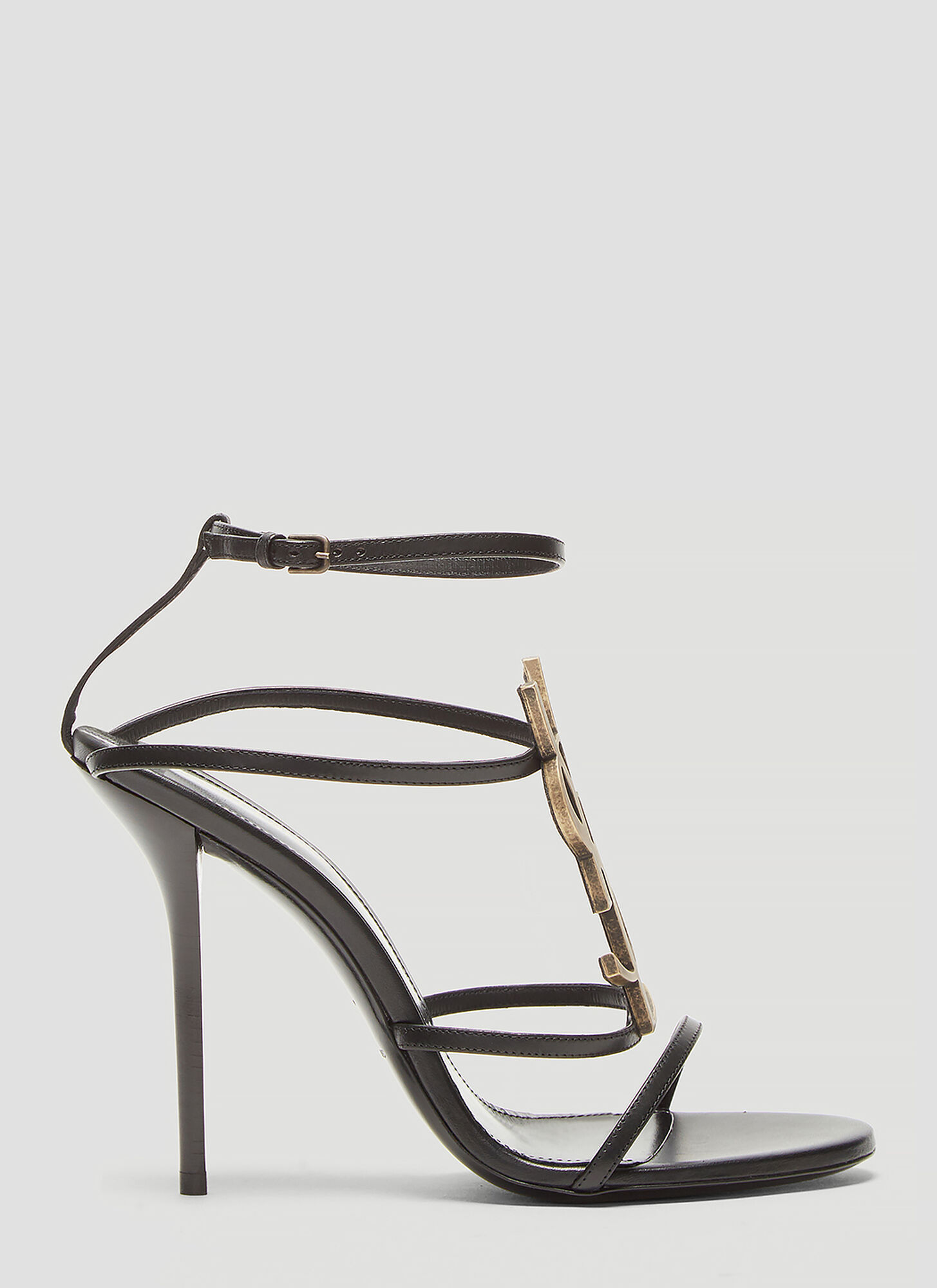 Saint Laurent Cassandra Logo Sandals in Black