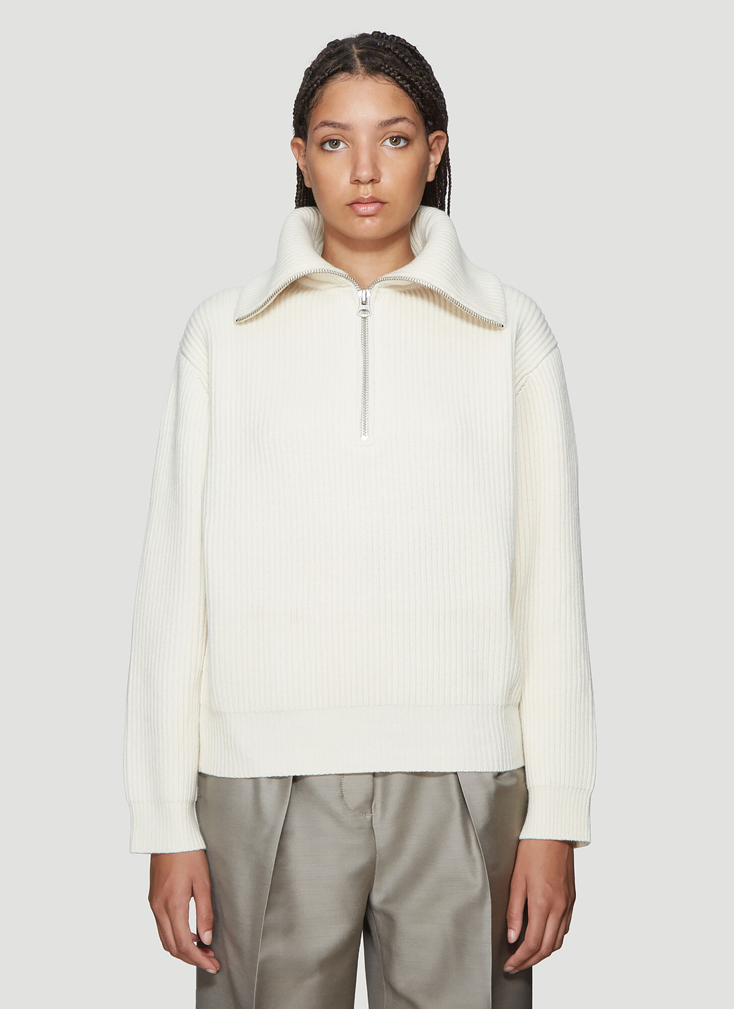 Acne Studios Kelanie Half-Zip Ribbed Sweater in White