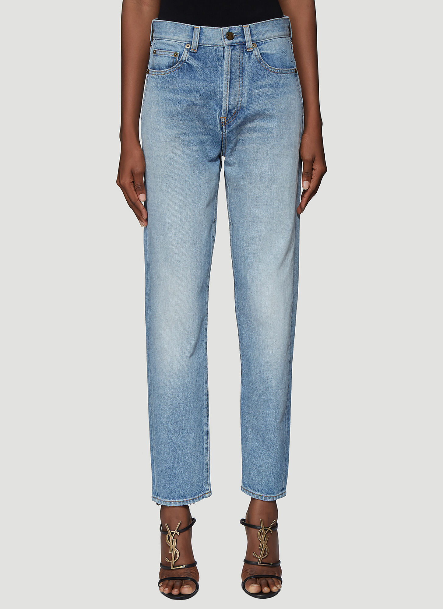 Saint Laurent Frayed Hem Denim Jeans in Blue