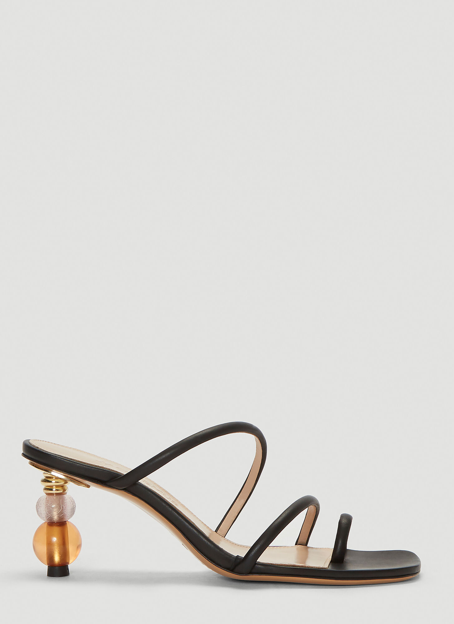 Jacquemus Noli Leather Sandals in Black