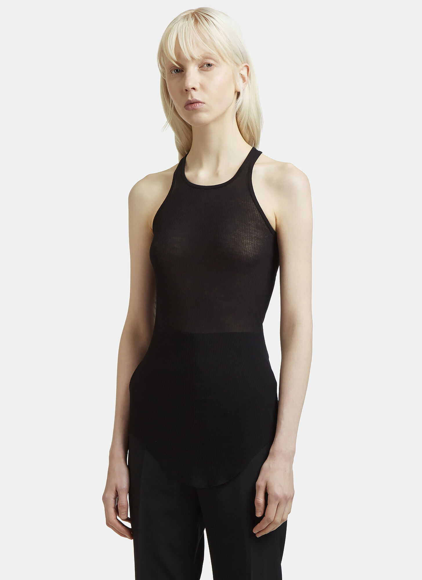 Rick Owens Rib Knit Crew Neck Vest Top in Black
