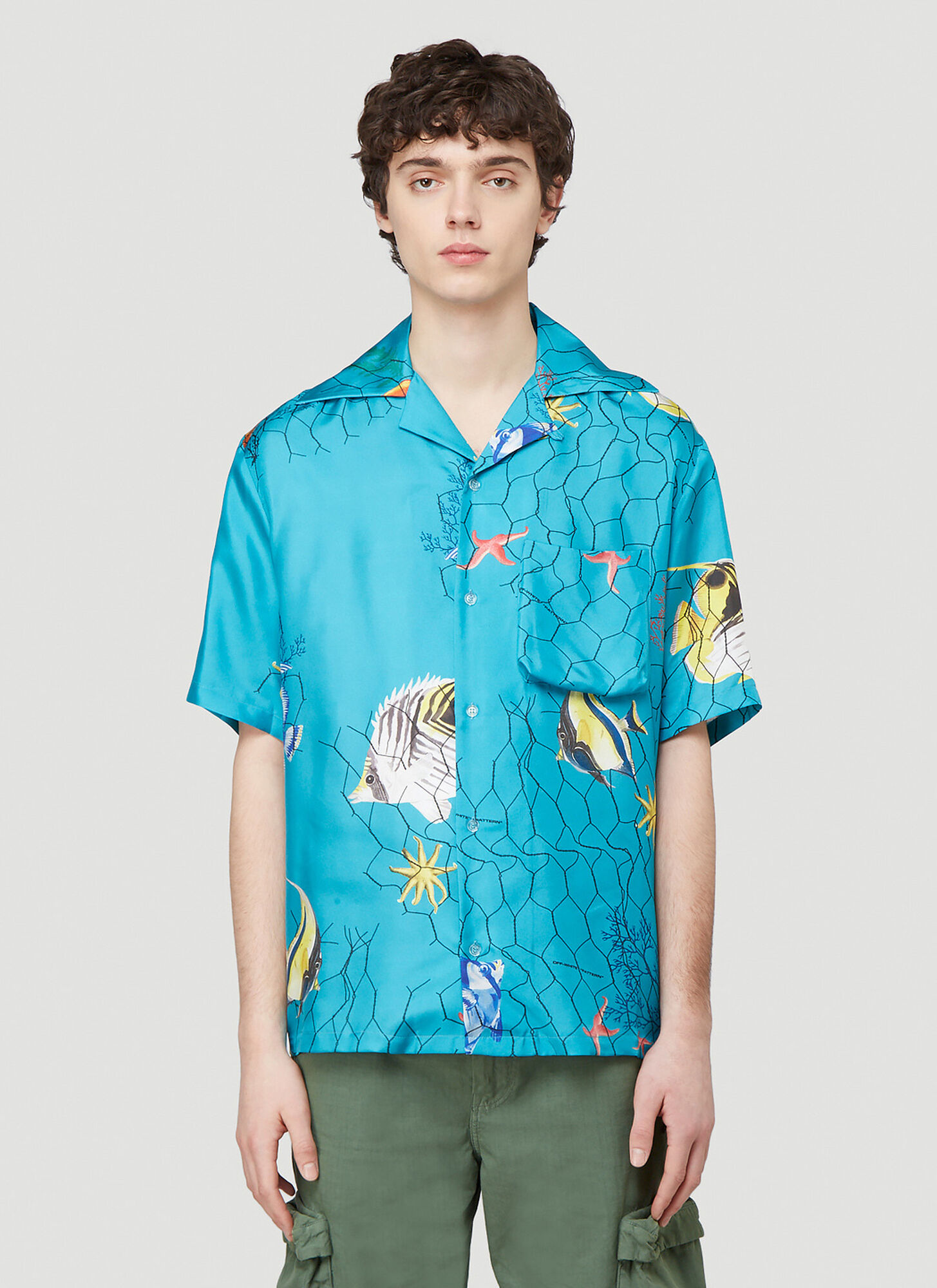 Off-White Fish-Net Silk Shirt in Blue size L