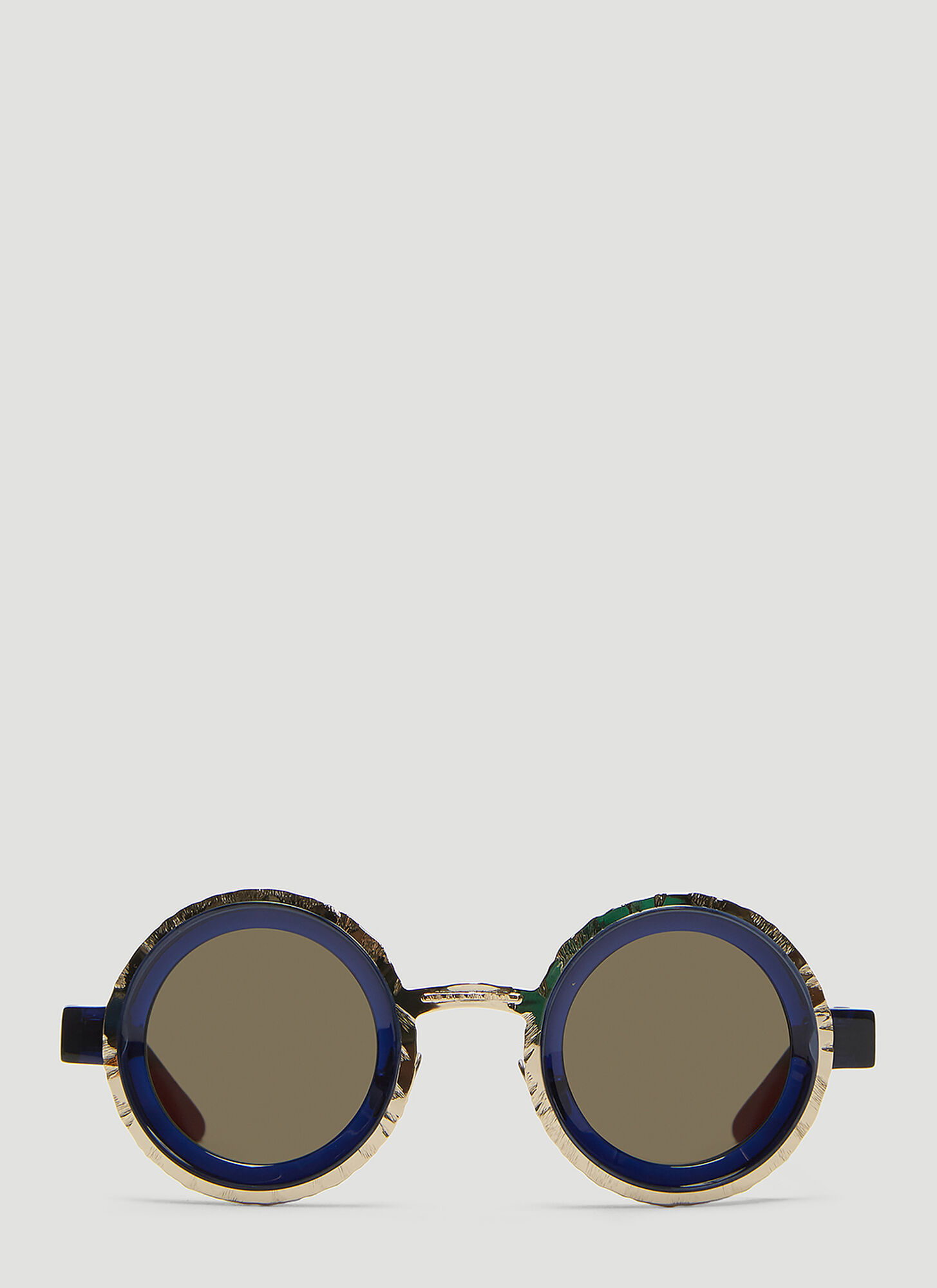 Kuboraum Mask Z3 Chiselled Round Sunglasses in Navy