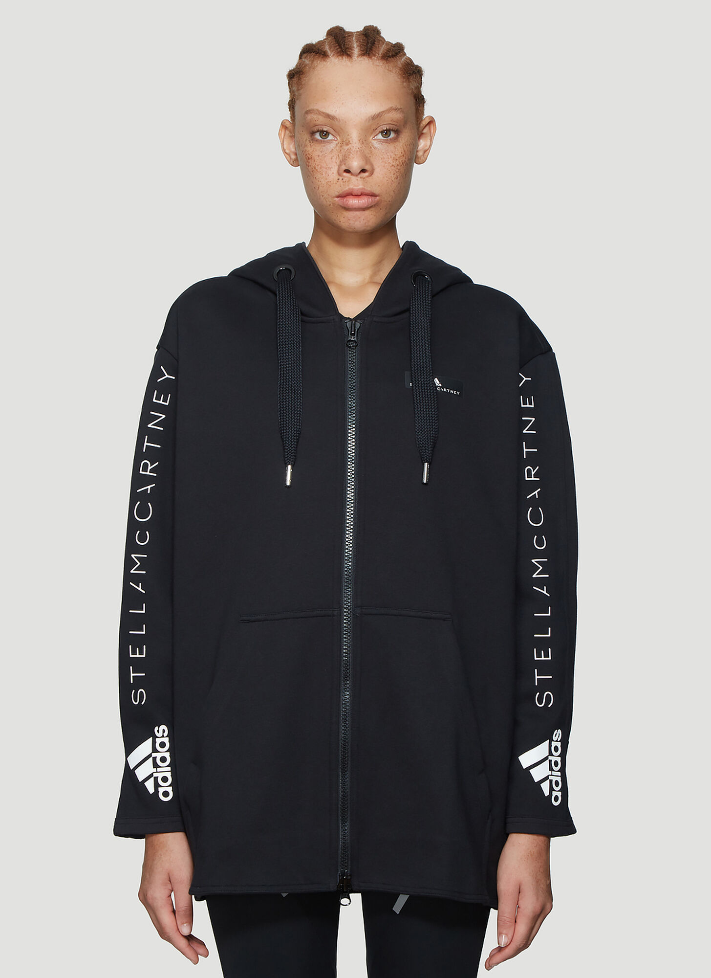 adidas by Stella McCartney Oversized Hooded Jacket in Black