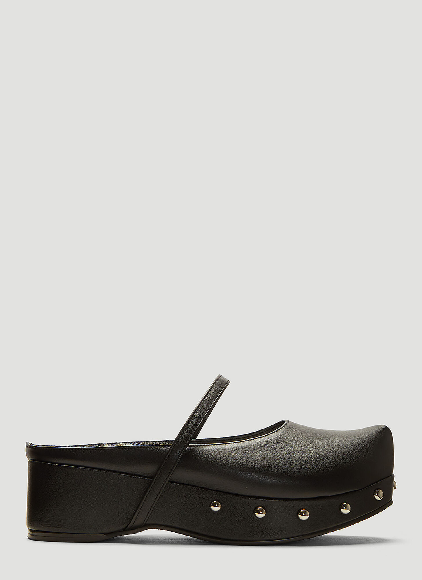 Flat Apartment Platform Mary Jane Mules in Black