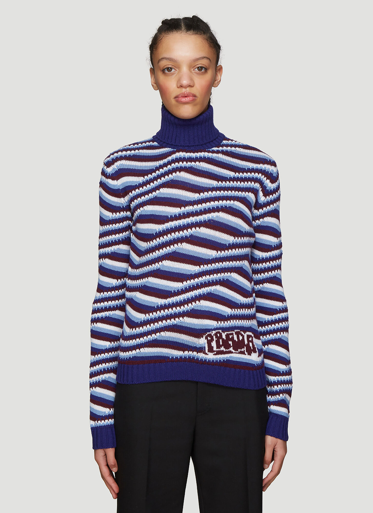 Prada Striped Cashmere Turtleneck Sweater in Blue
