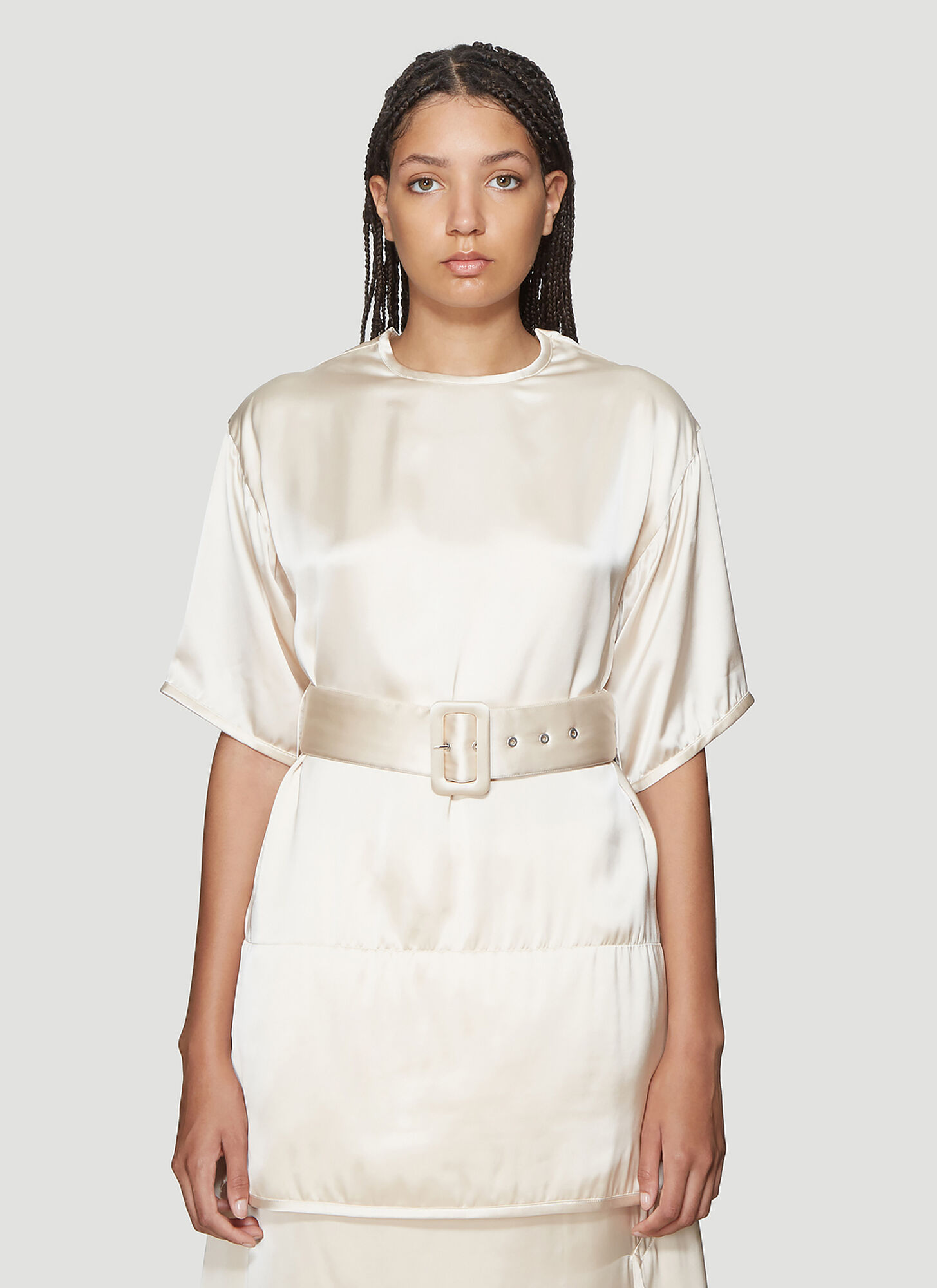 Jil Sander Loto Belted Top in White