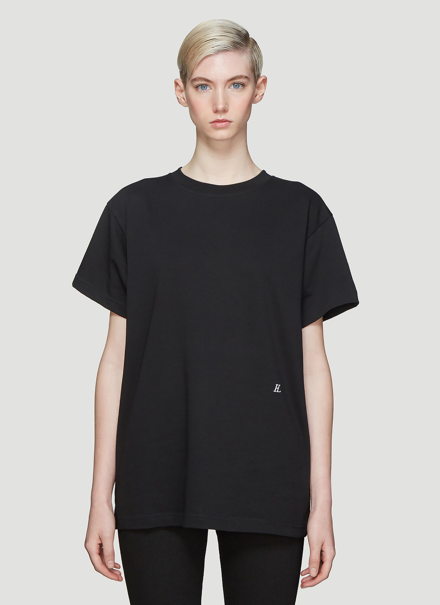 Helmut Lang Embroidered Logo T-Shirt in Black