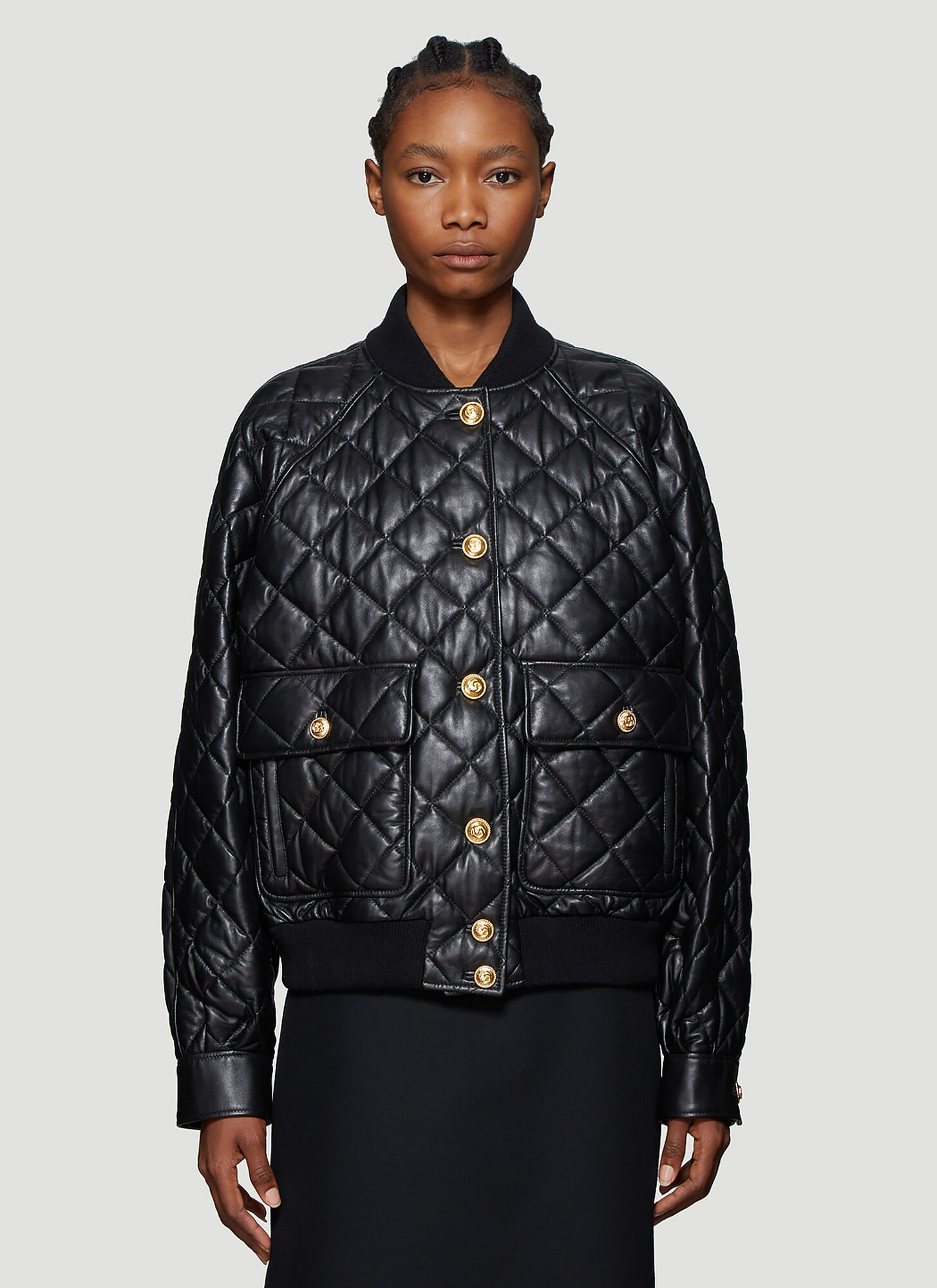 Gucci Quilted Leather Bomber Jacket in Black