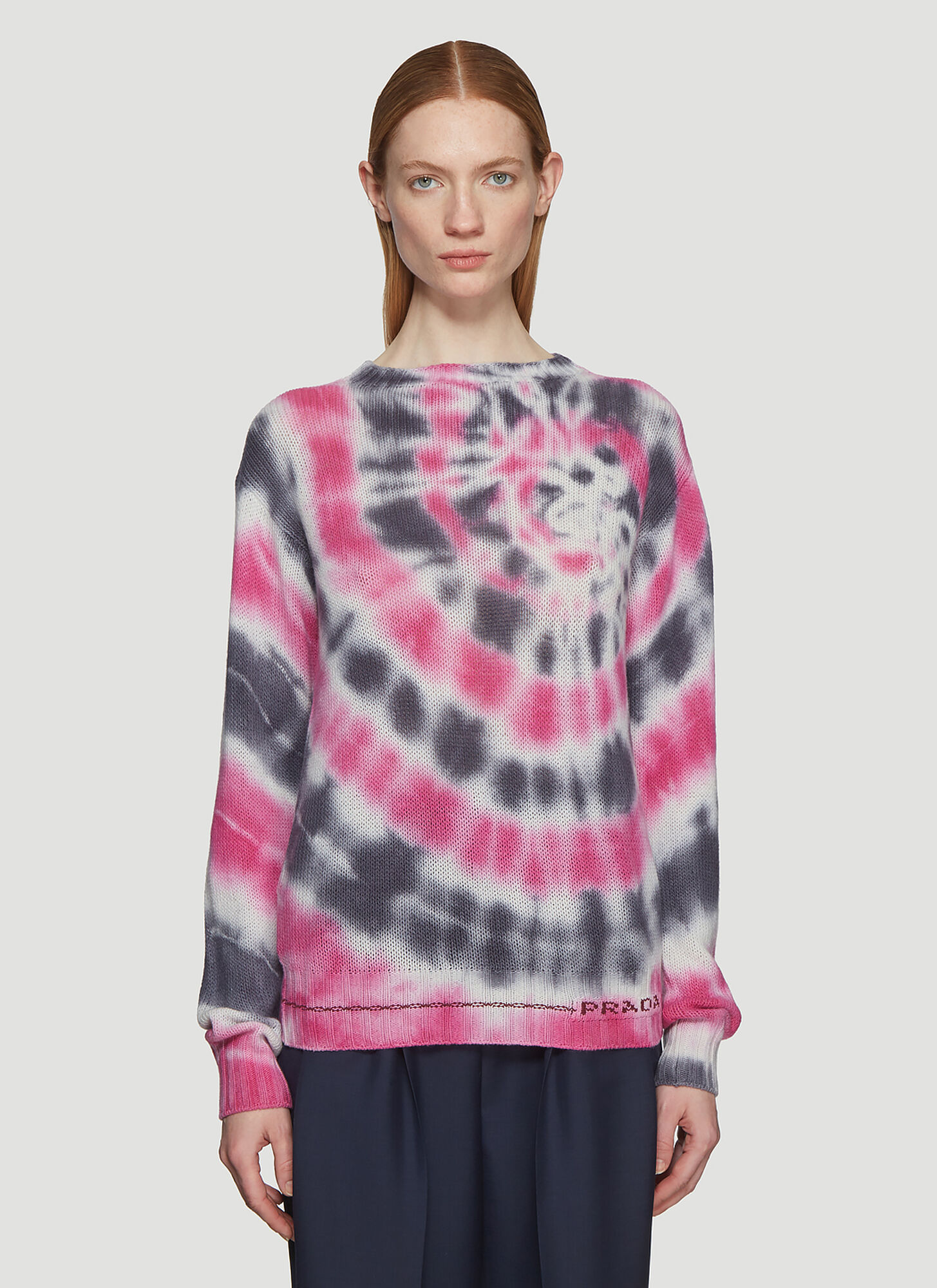 Prada Tie-Dye Knitted Sweater in Pink