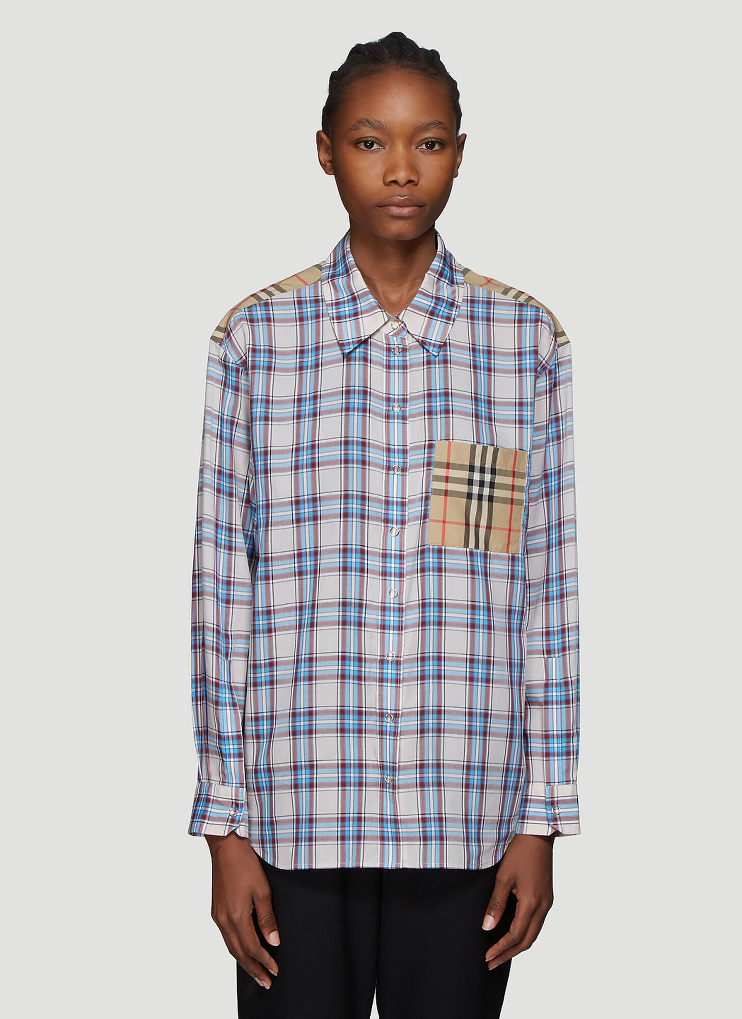Burberry Contrast Check Print Shirt in Blue